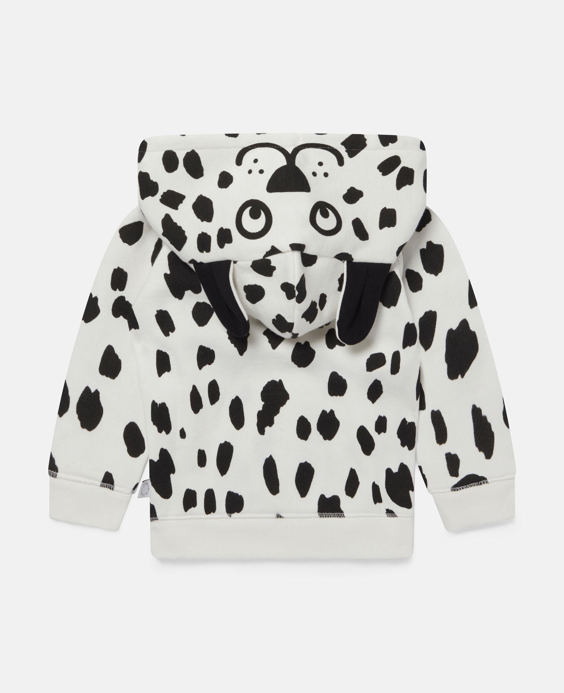 Kapuzenpullover aus Fleece mit Dalmatinerflecken-Weiß-large image number 3