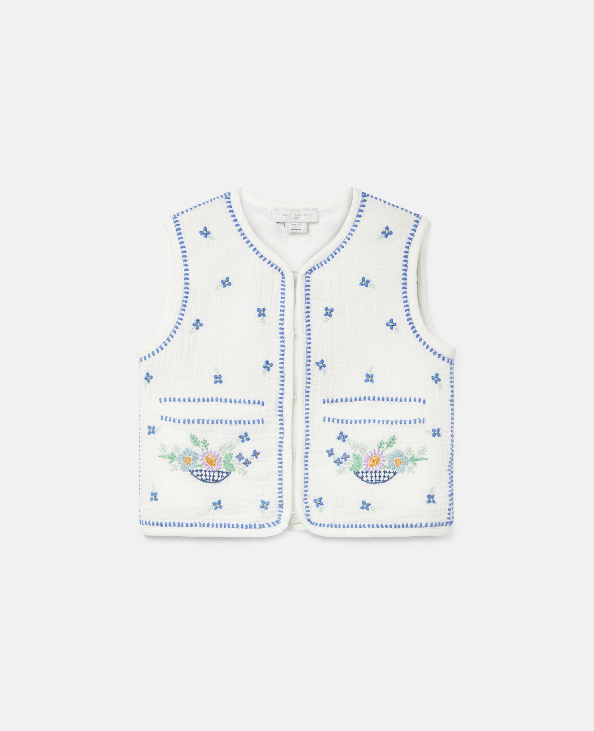 Gilet sans manches en coton à fleurs brodées-Blanc-large image number 0