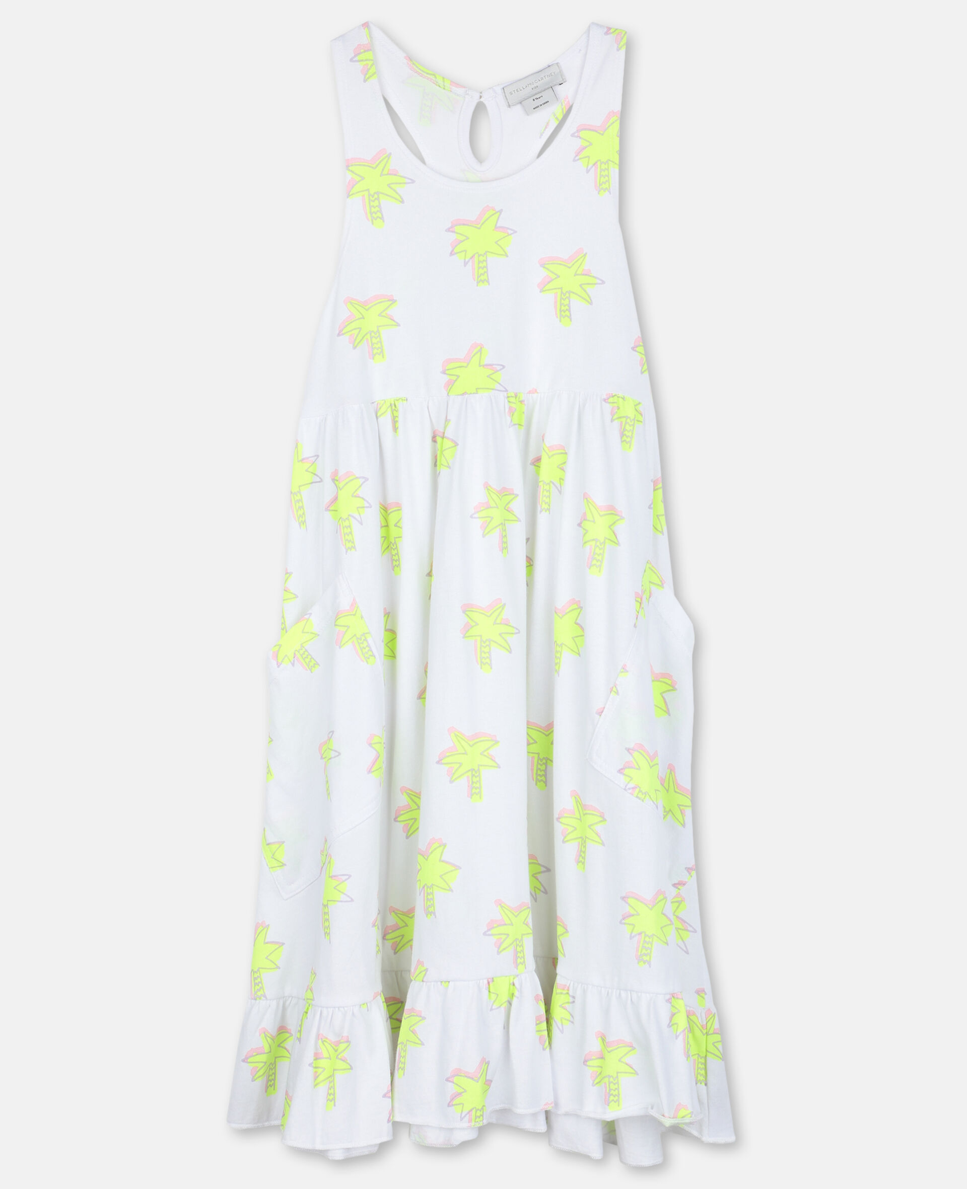 Doodle Palm Cotton Dress-White-large image number 0