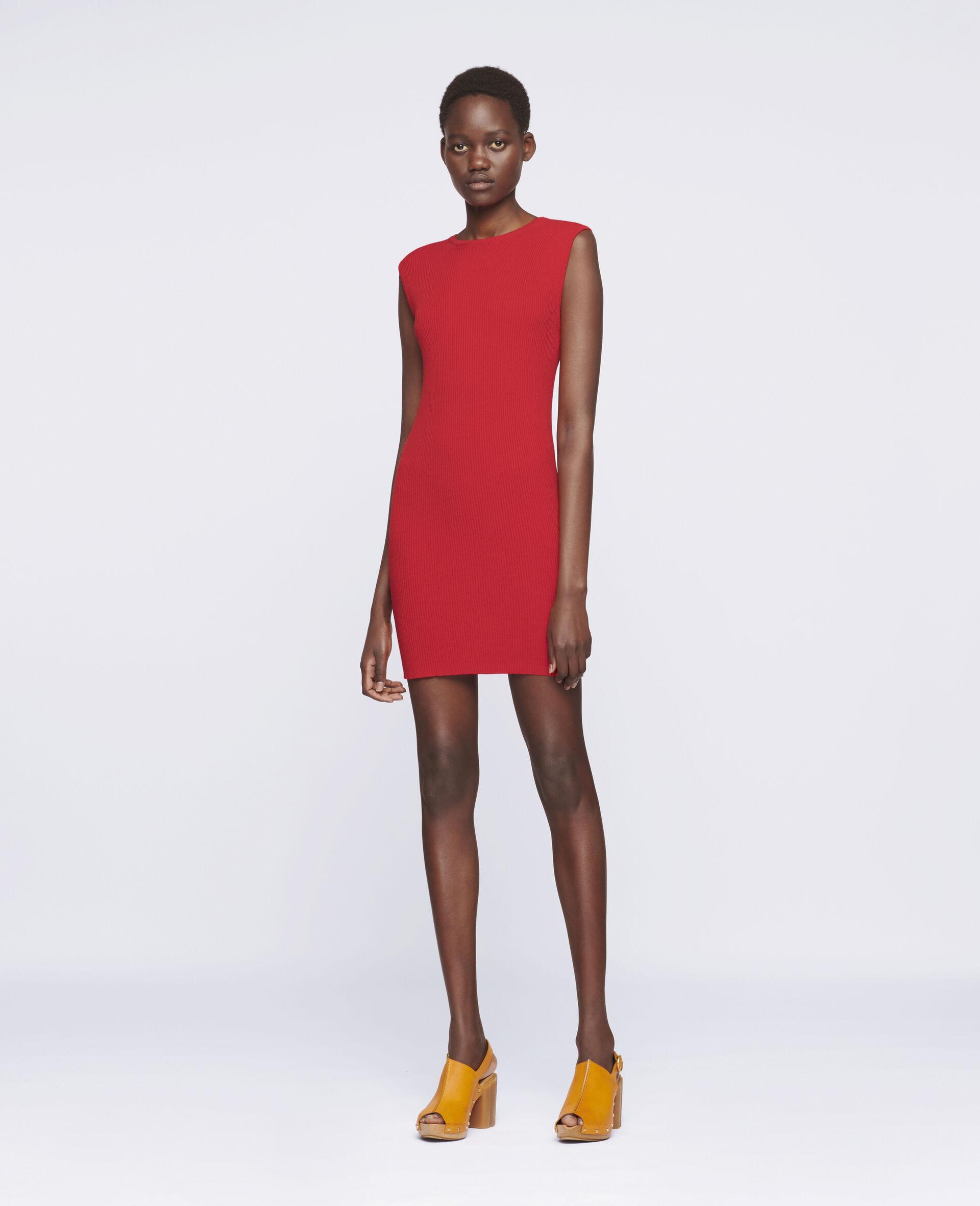 Sleeveless Mini Dress-Red-large image number 1