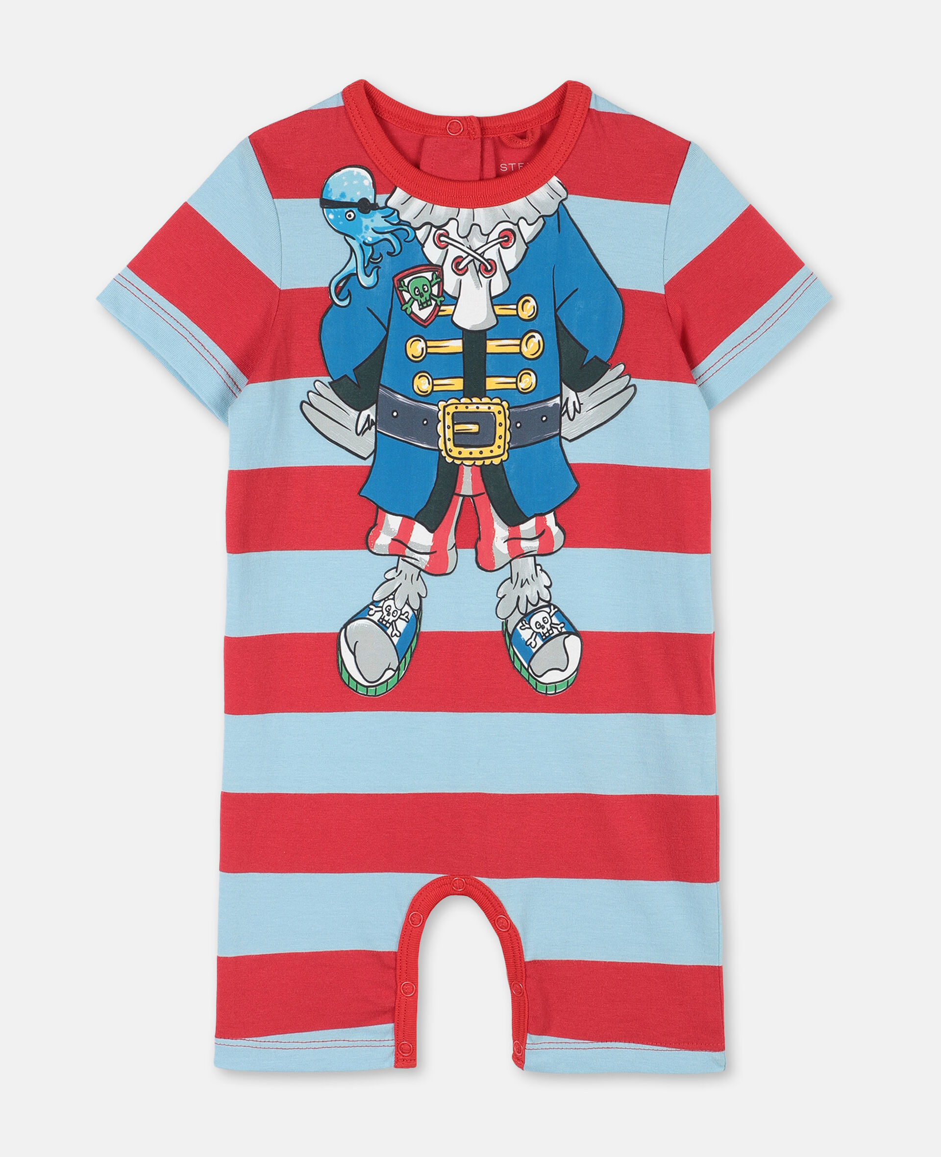 Trompe-L'Oeil Pirate Cotton Jumpsuit -Red-large image number 0