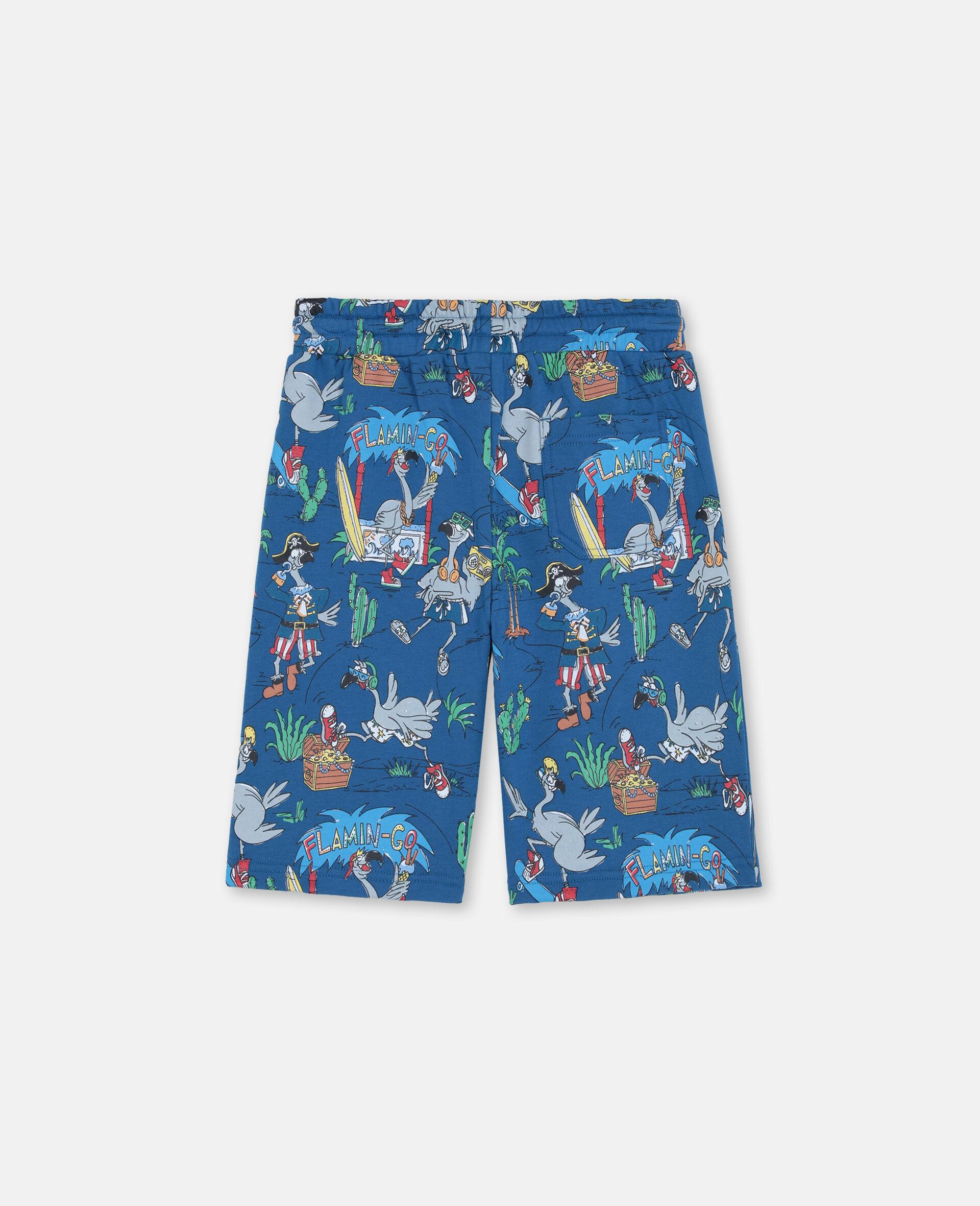 Flamingo Land Cotton Shorts -Blue-large image number 3