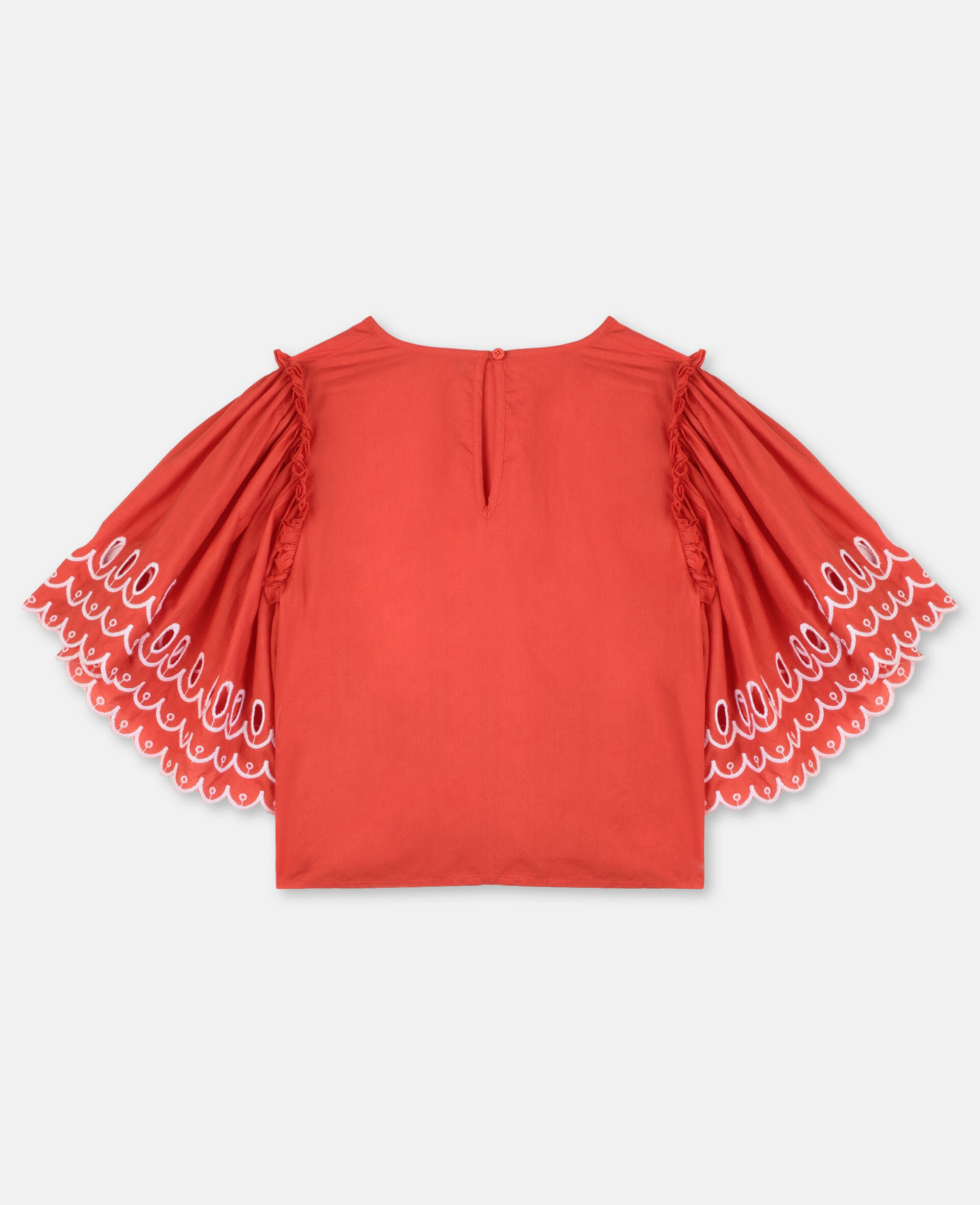 Scalloped Cotton Top-Red-large image number 2