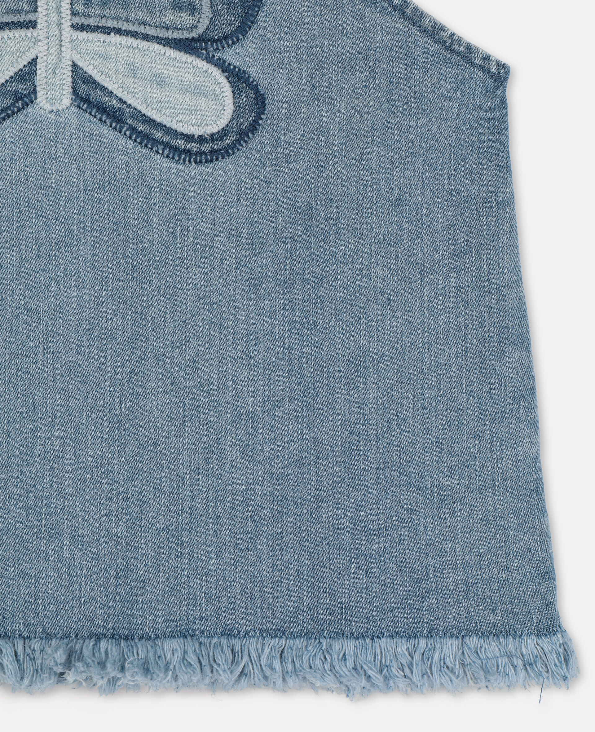 Top en denim avec papillon-Bleu-large image number 2