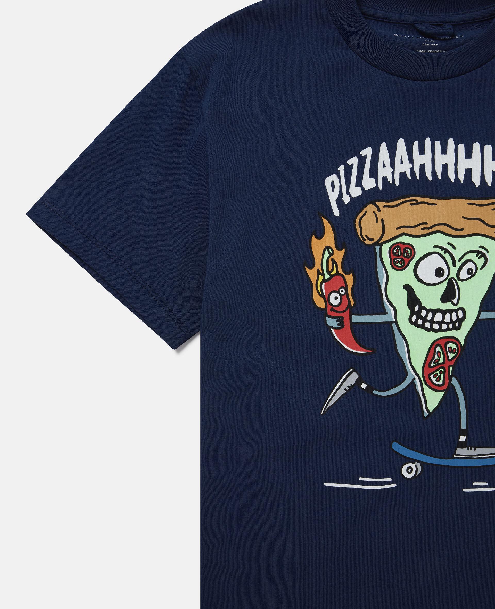 Übergroßes T-Shirt mit Pizza-Skater-Motiv-Blau-large image number 2