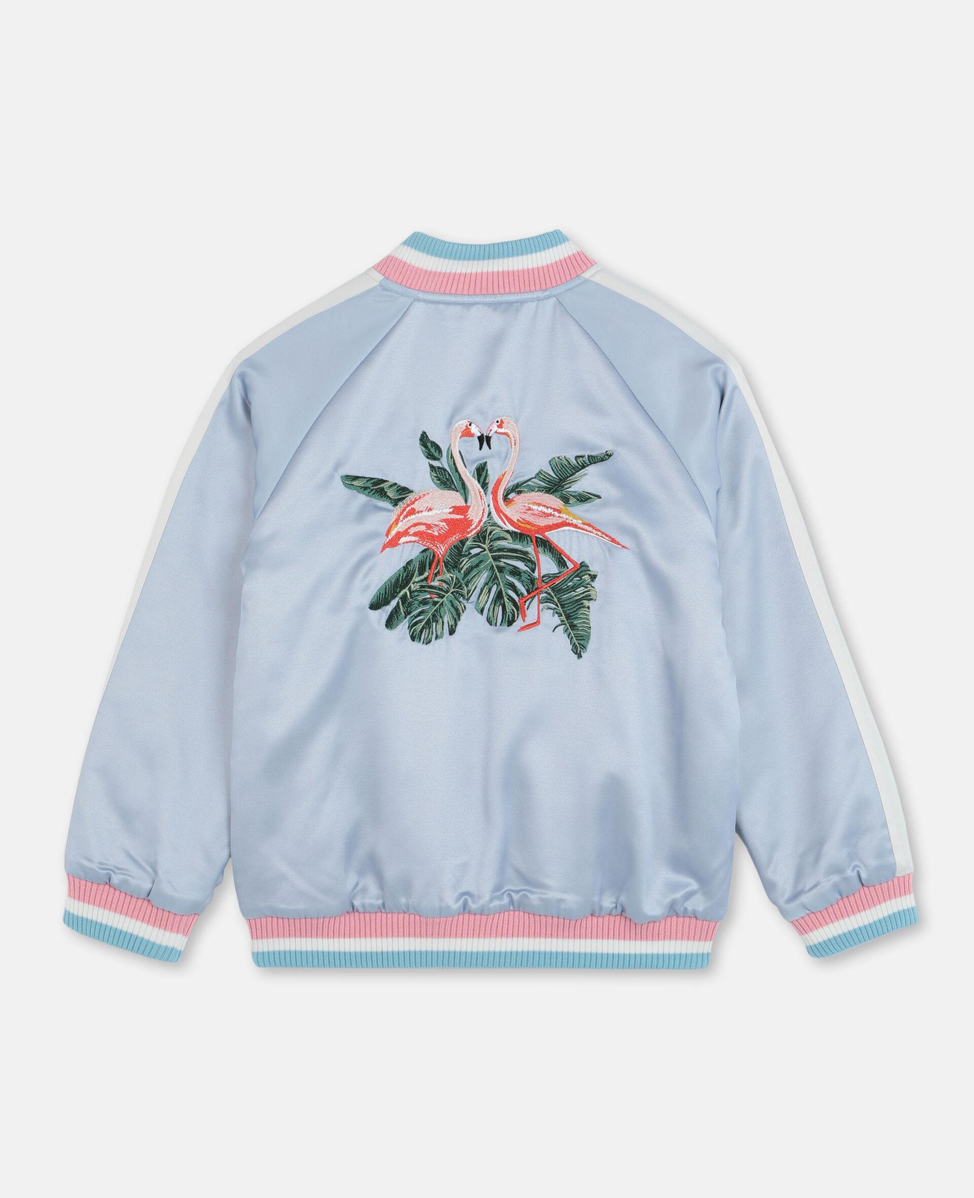Embroidered Flamingo Satin Bomber -Blue-large image number 3