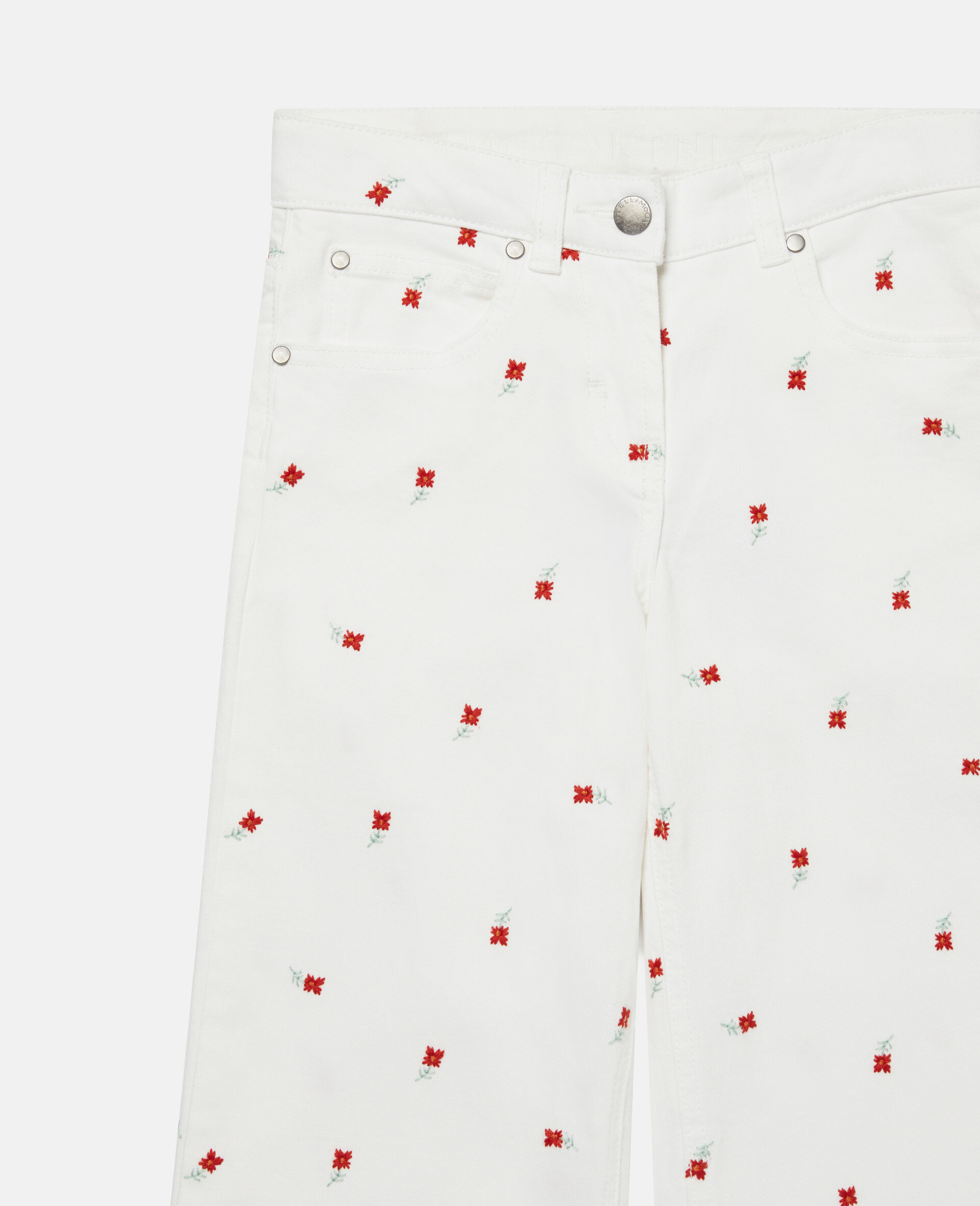 Embroidered Flowers Denim Trousers-White-large image number 1