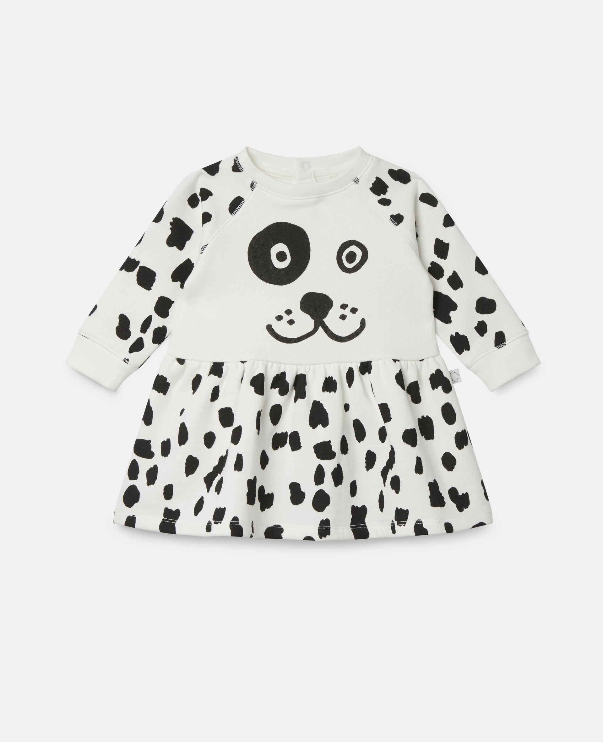 Kleid aus Fleece mit Dalmatinerflecken-Weiß-large image number 0