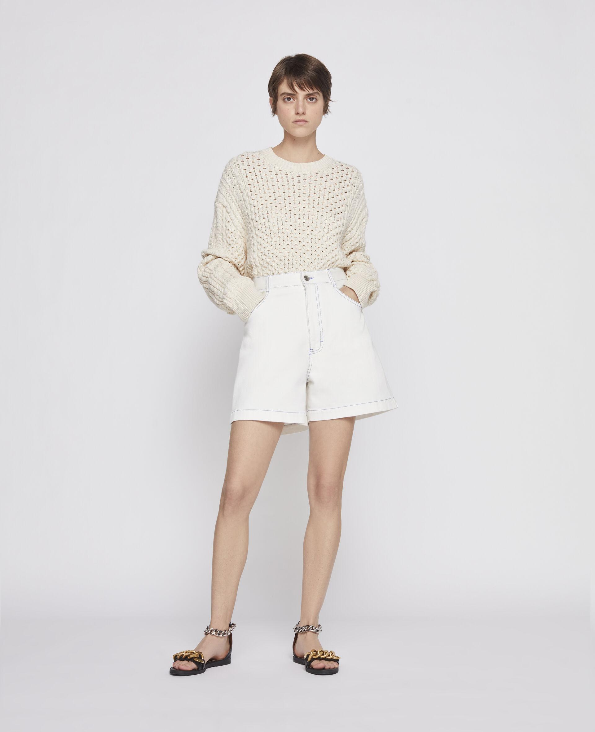 Aran Stitch Sweater-Beige-large image number 3