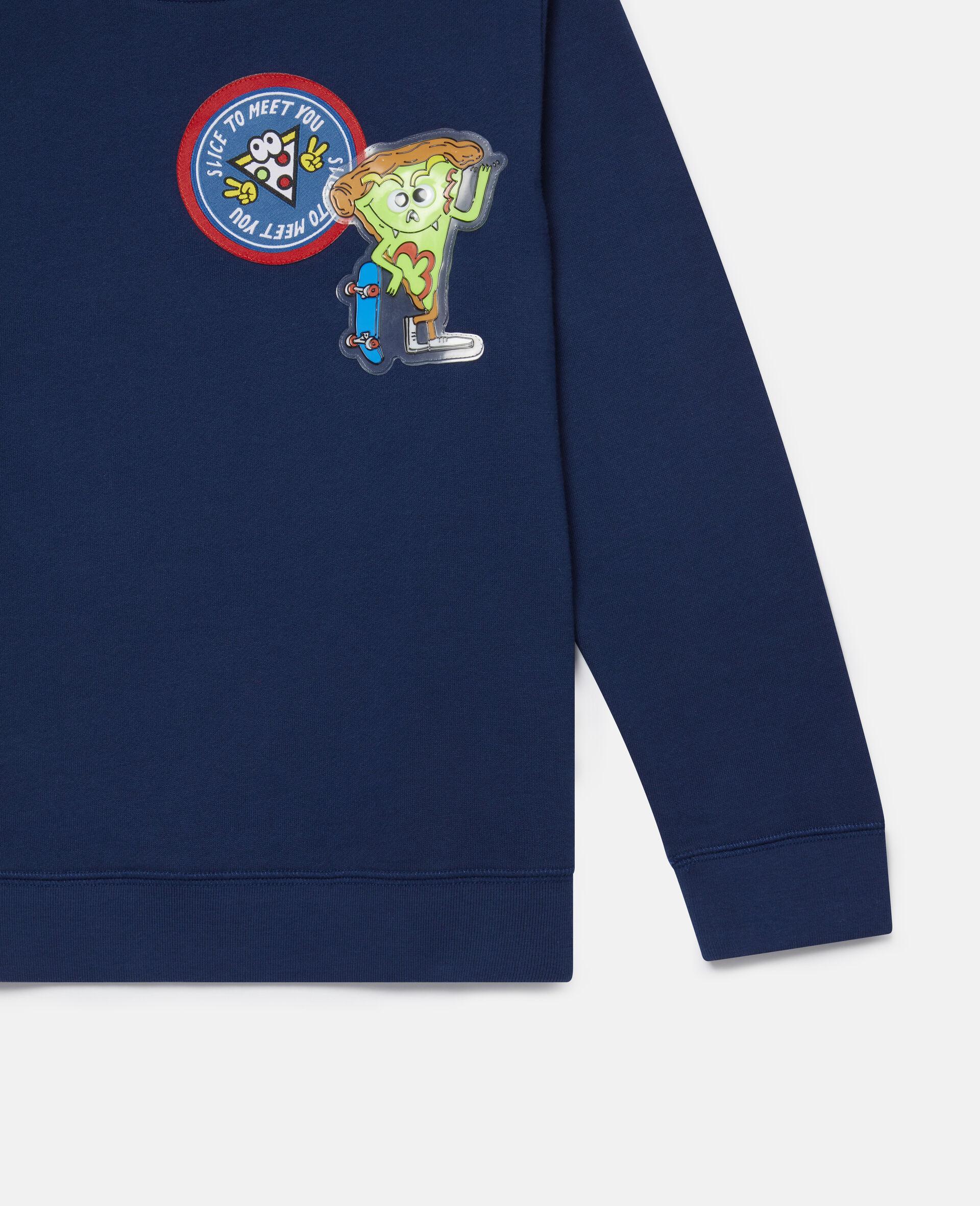 Sweat-shirt en polaire à écussons pizza-Bleu-large image number 2