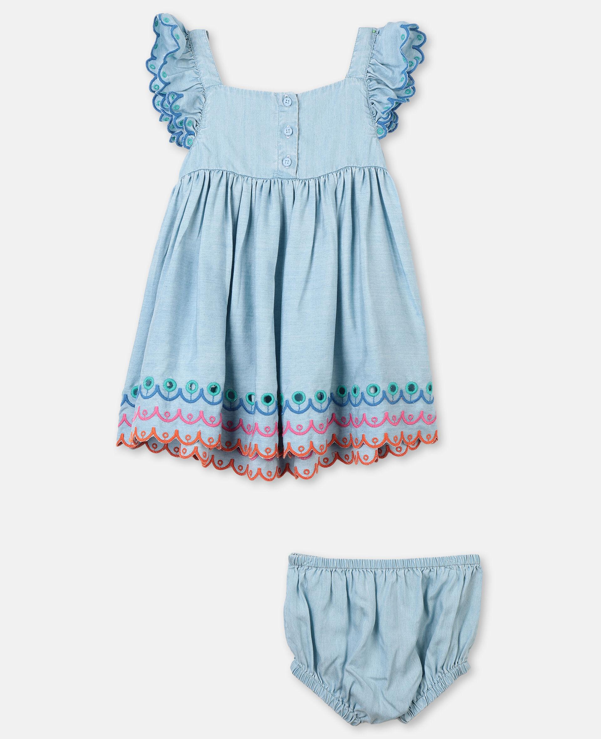 Scalloped Denim Dress-Blue-large image number 3