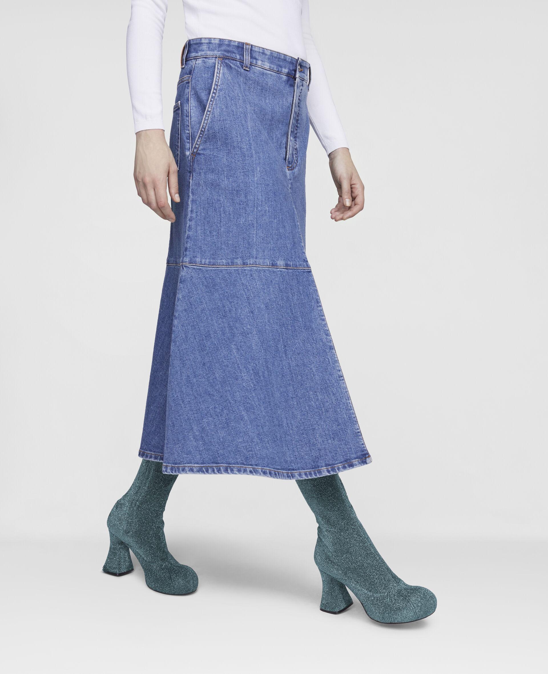 Flared Denim Skirt -Blue-large image number 3