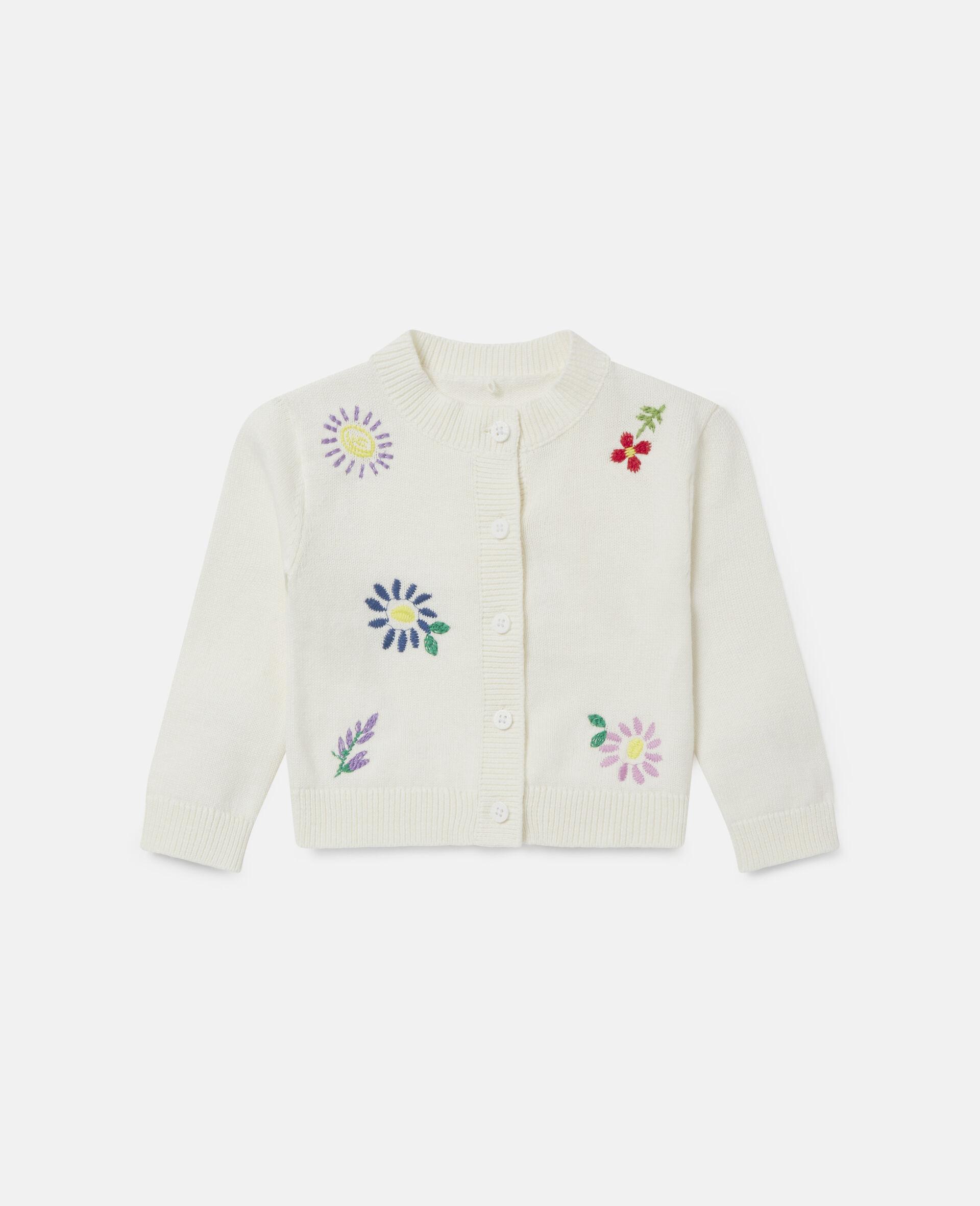 Cardigan à fleurs brodées-Blanc-large image number 0