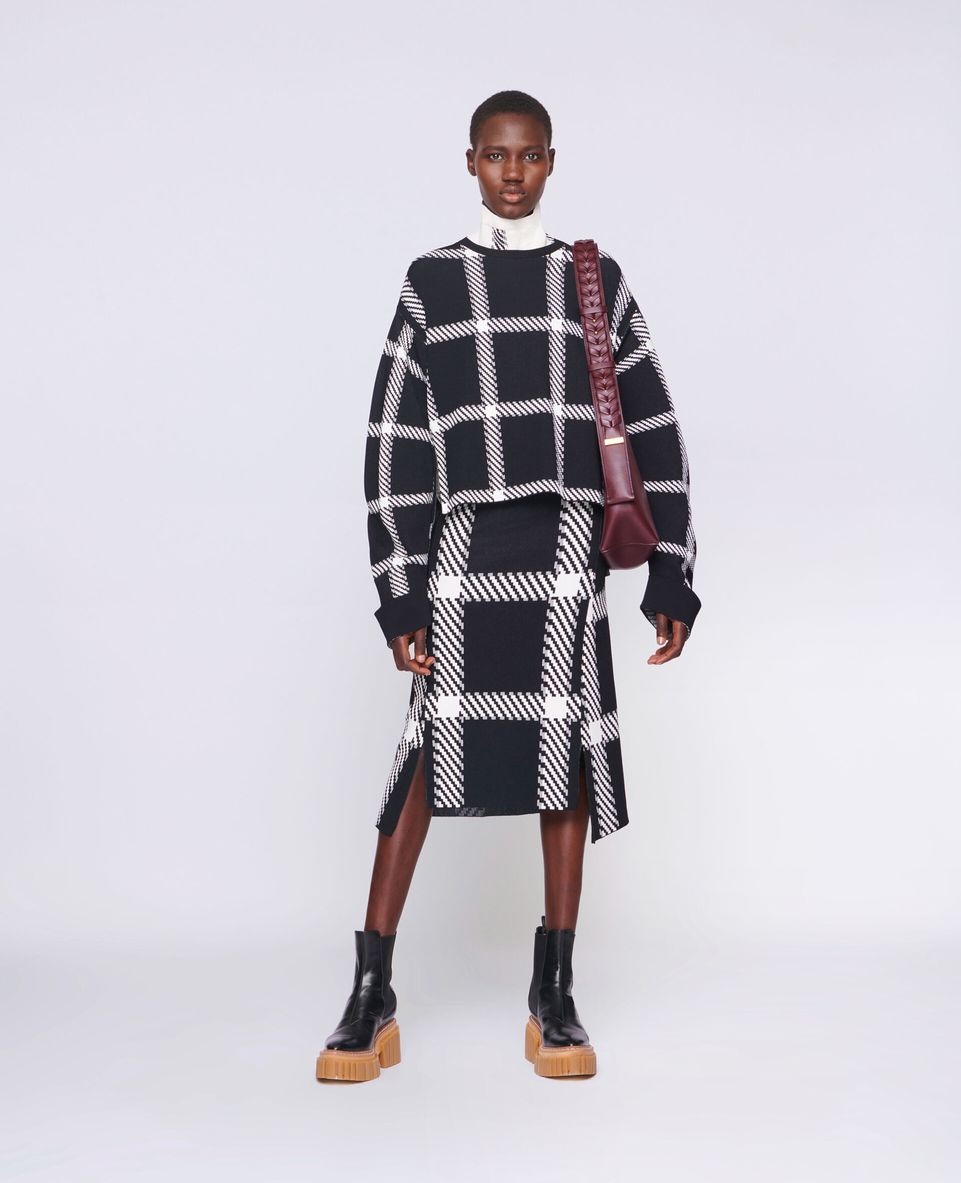 Knit Check Skirt-Multicolour-large image number 1
