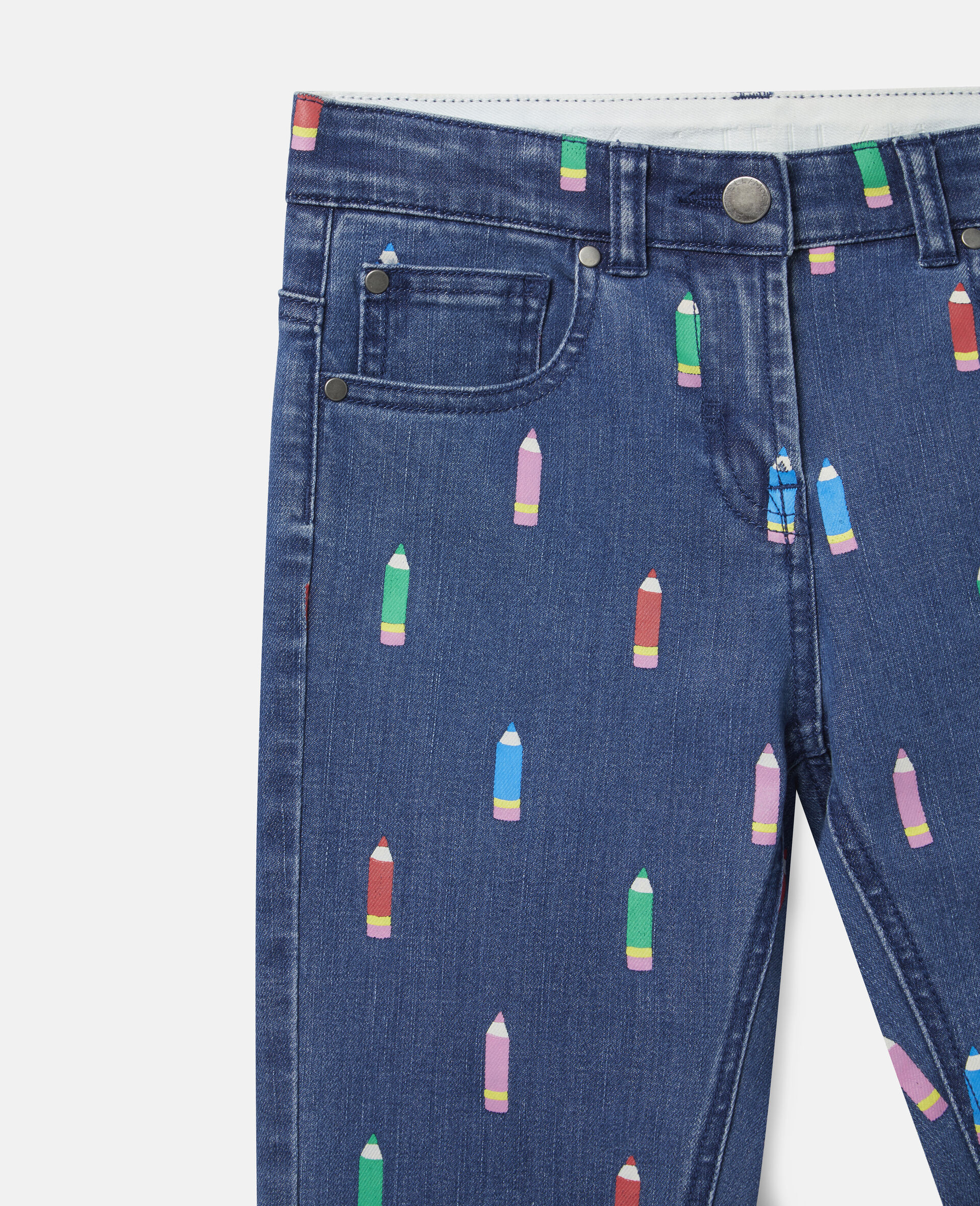 Pantalon en denim motif crayons-Bleu-large image number 1
