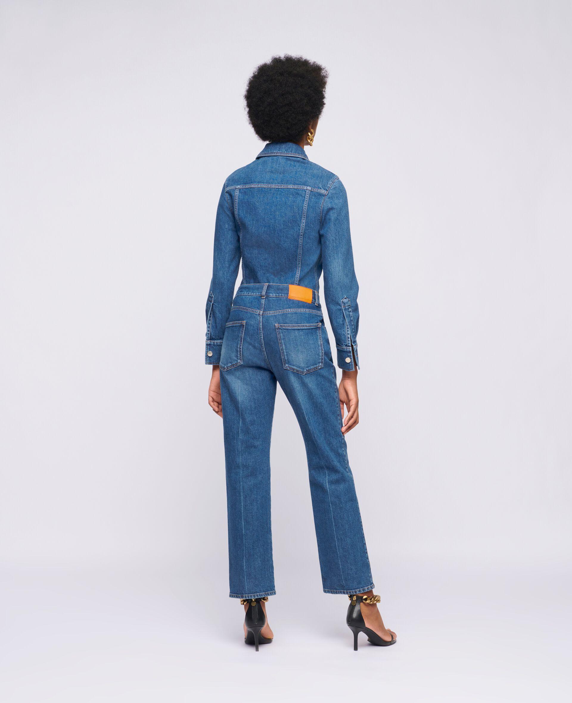 Vintage Wash Denim Jumpsuit -Blue-large image number 2