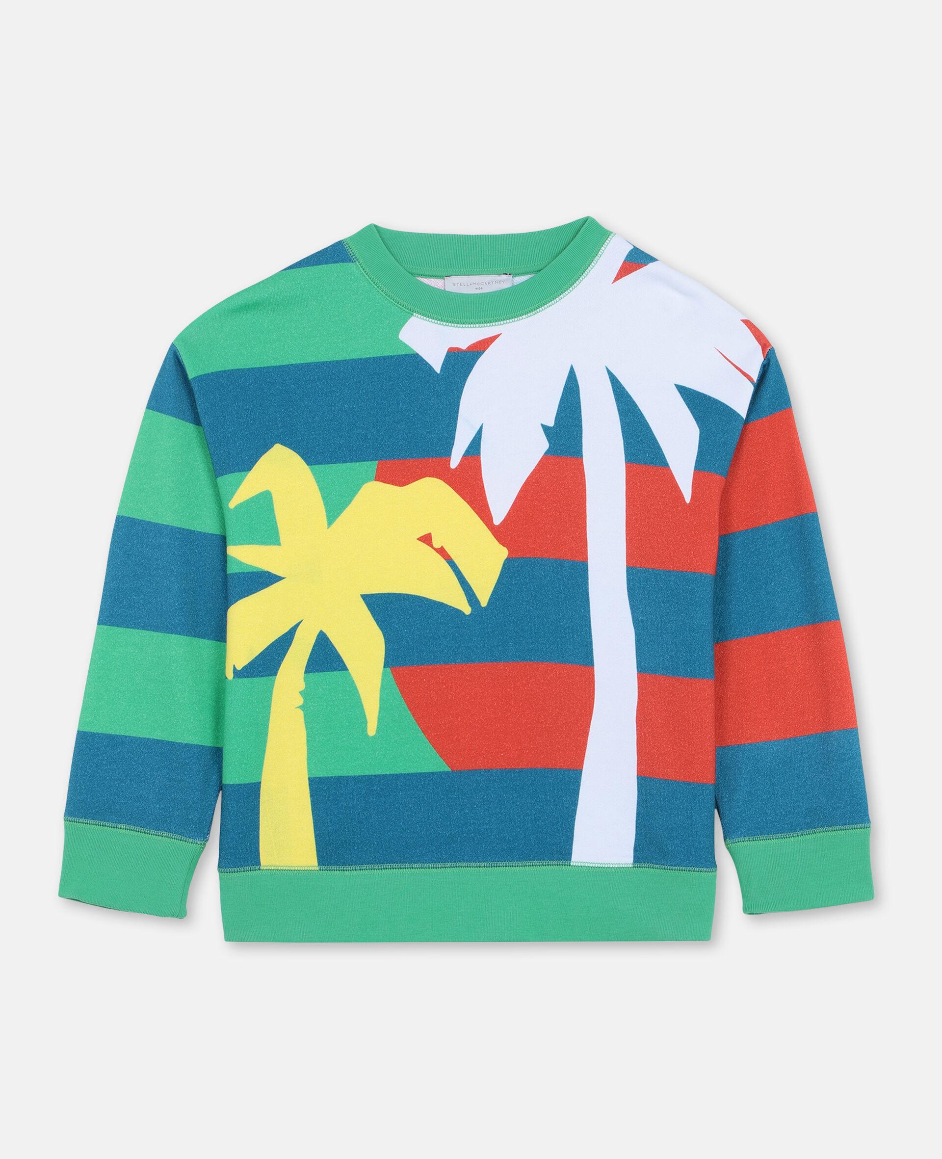 Sweat-shirt oversize en coton à motif palmiers -Vert-large image number 0
