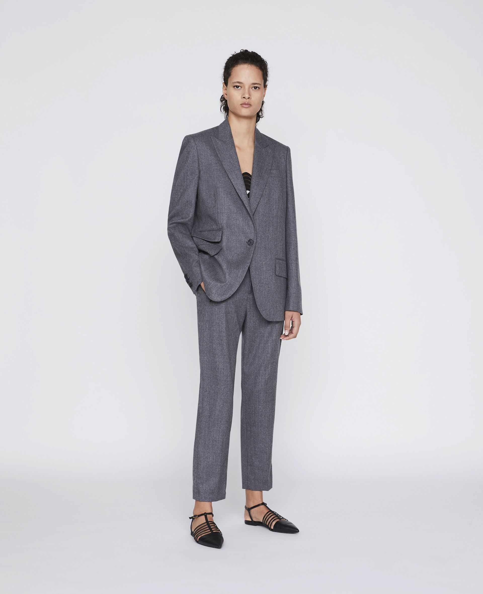 Claire Tailored Trousers-Grey-large image number 1