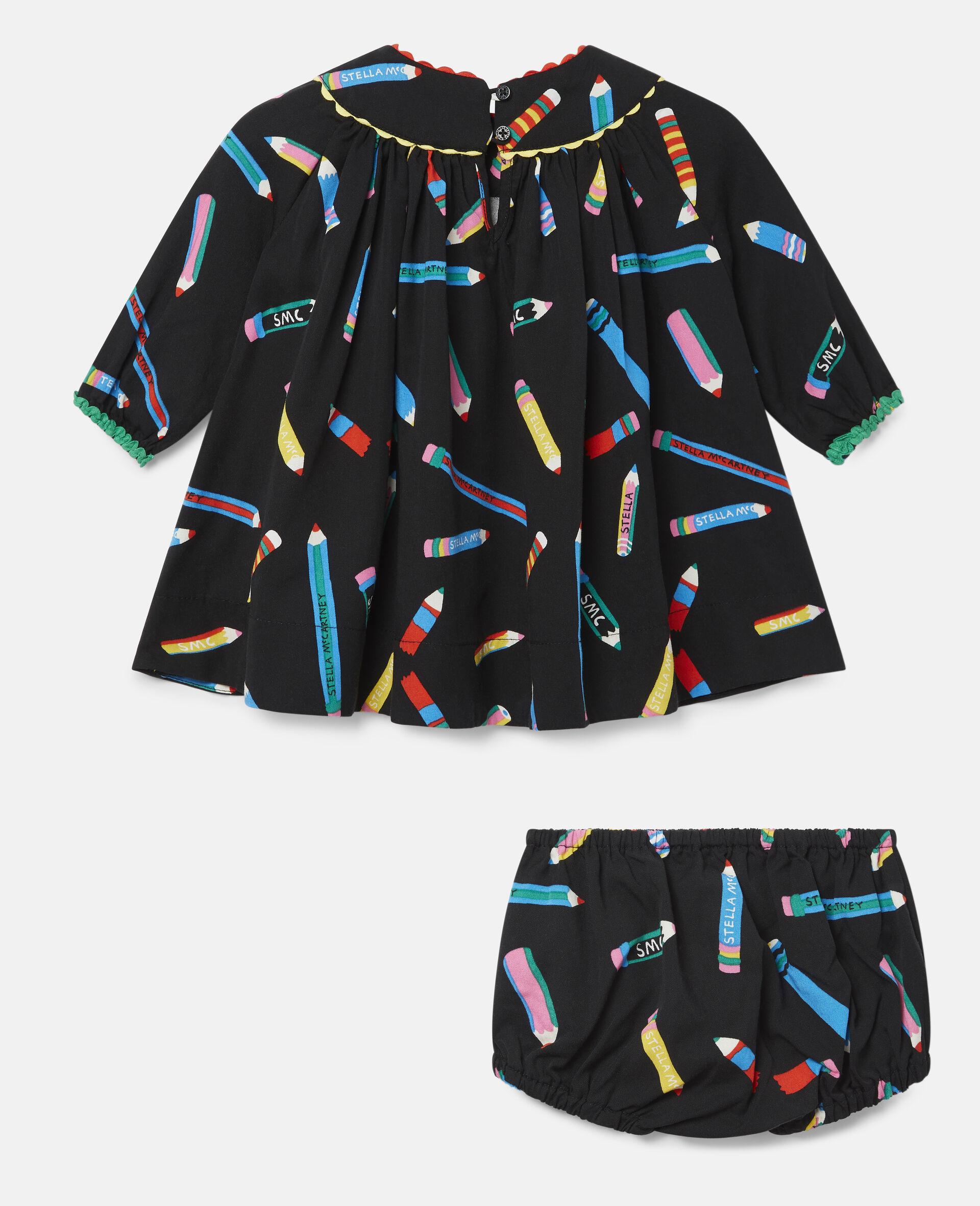Kleid aus Twill mit Stifte-Print-Schwarz-large image number 3