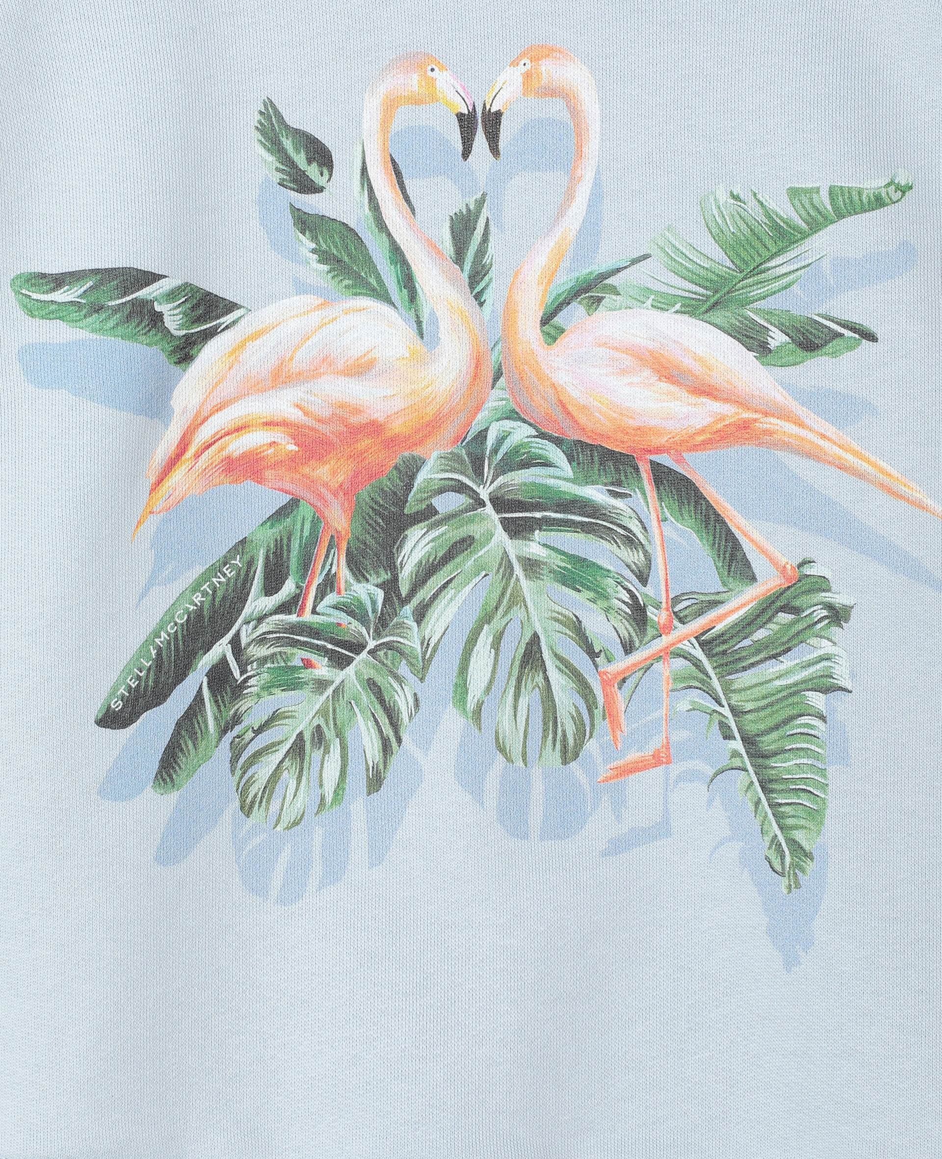 Baumwollfleece-Sweatshirt mit malerischem Flamingo-Print -Blau-large image number 1