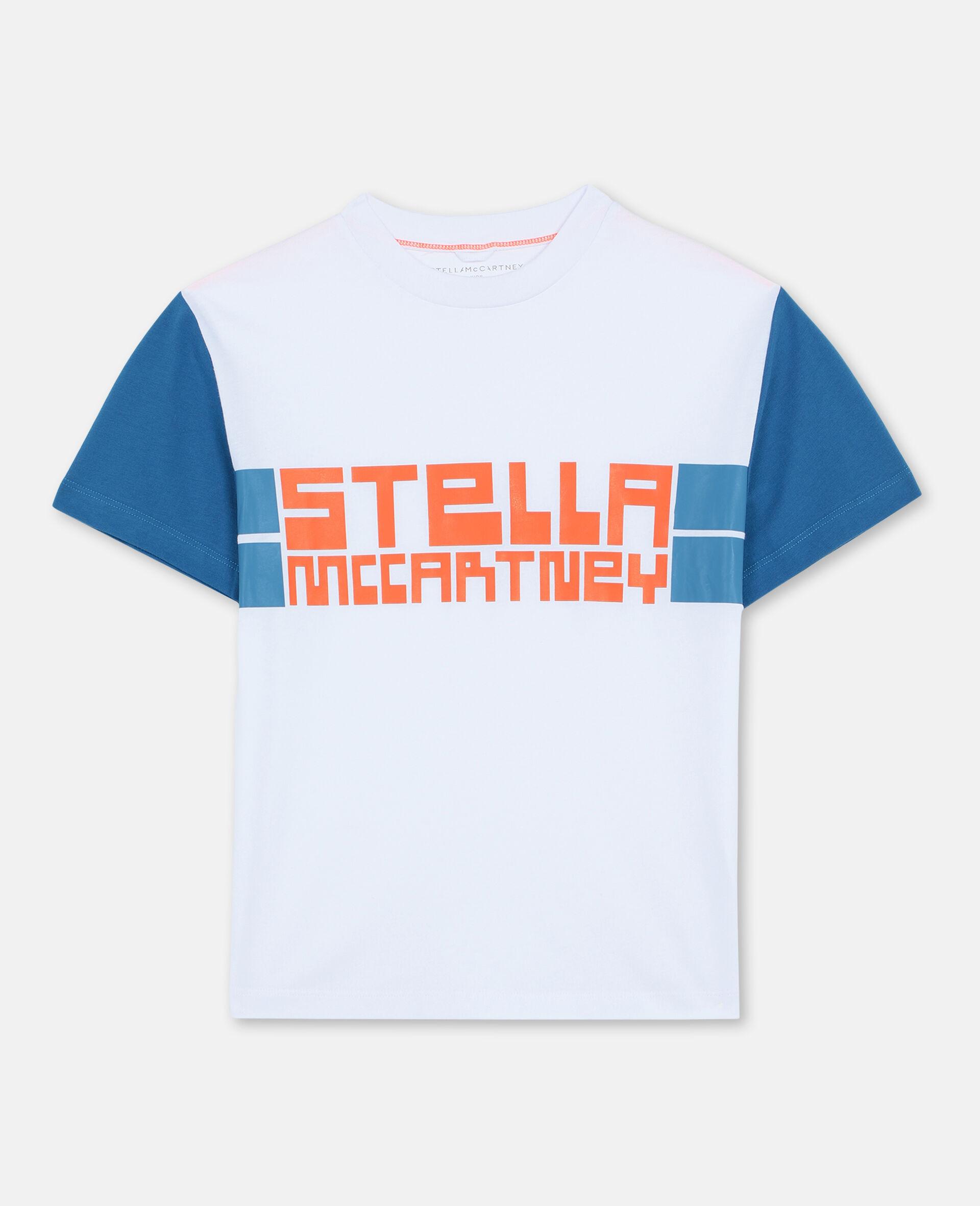 T-shirt de sport oversize en coton avec logo -Blanc-large image number 0