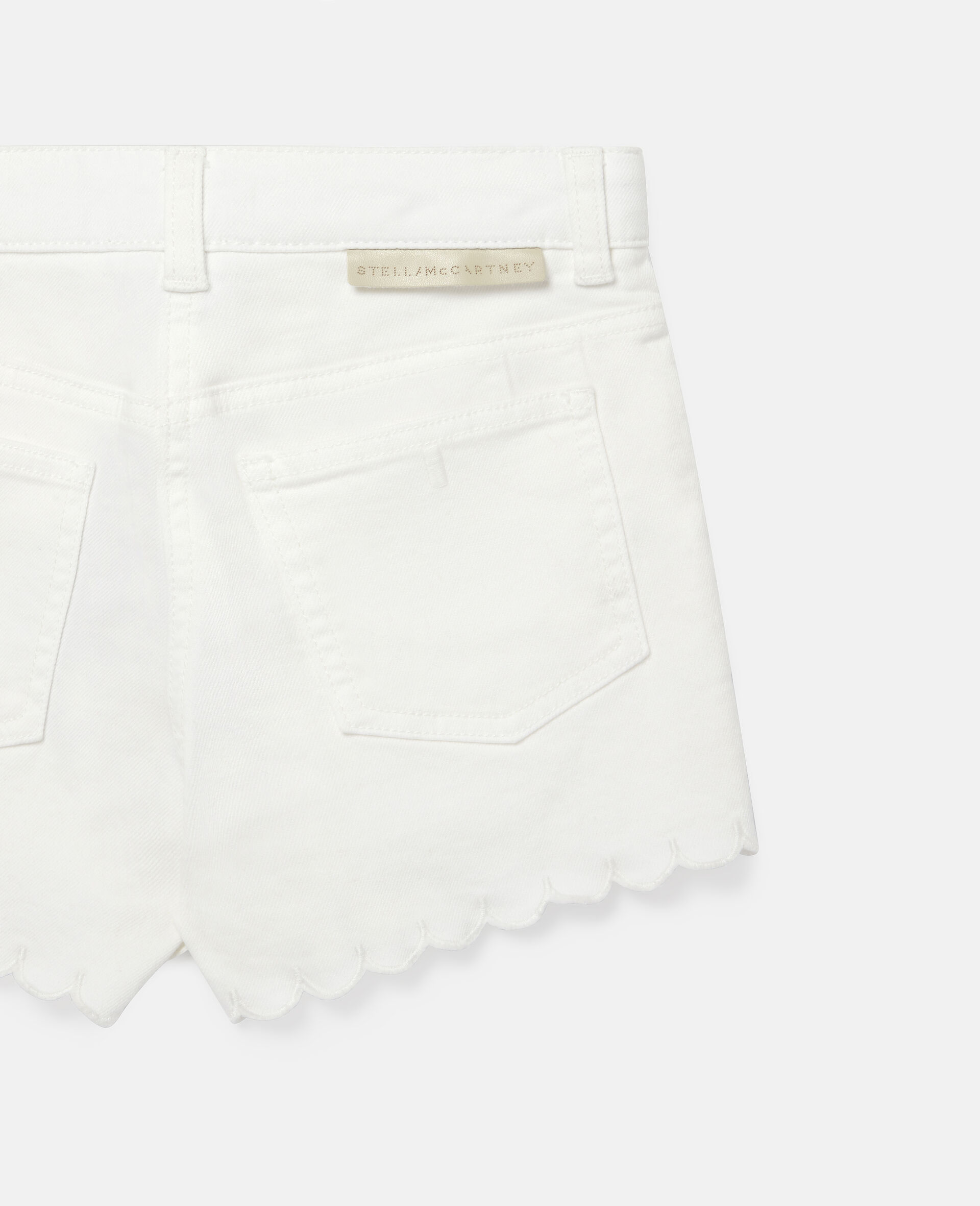 Embroidered Flowers Denim Shorts-White-large image number 2