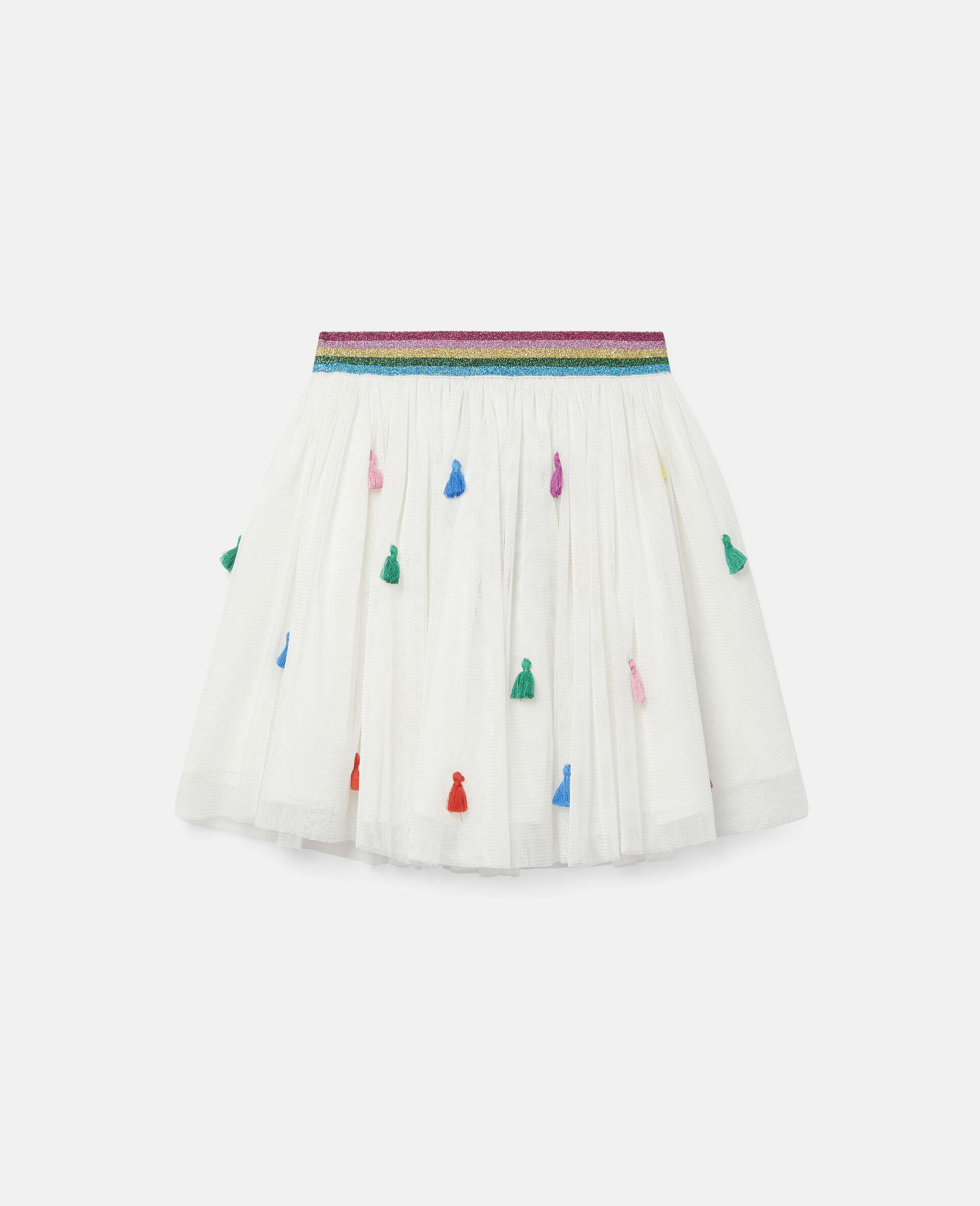 Tassels Tulle Skirt -White-large image number 0