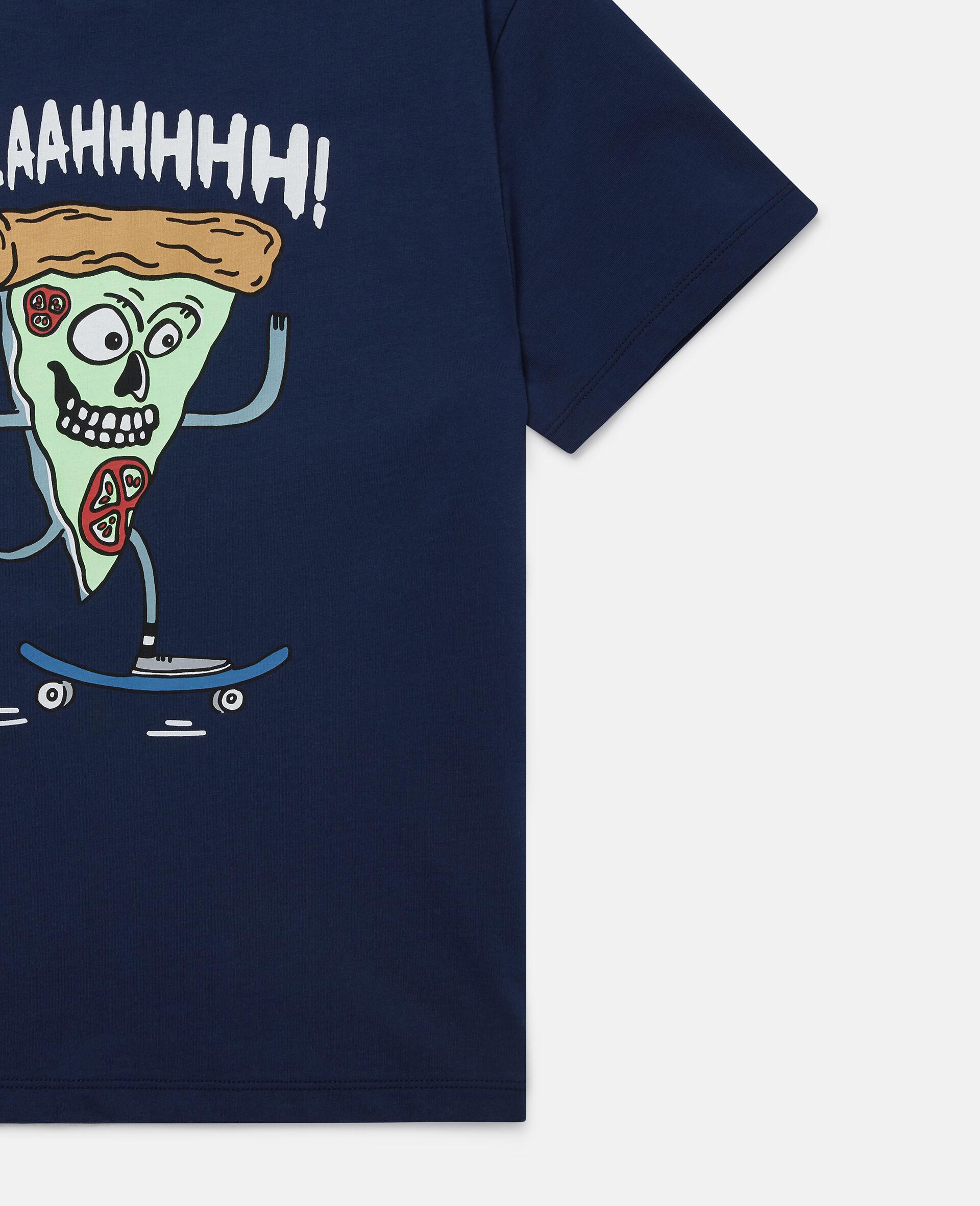 Übergroßes T-Shirt mit Pizza-Skater-Motiv-Blau-large image number 1