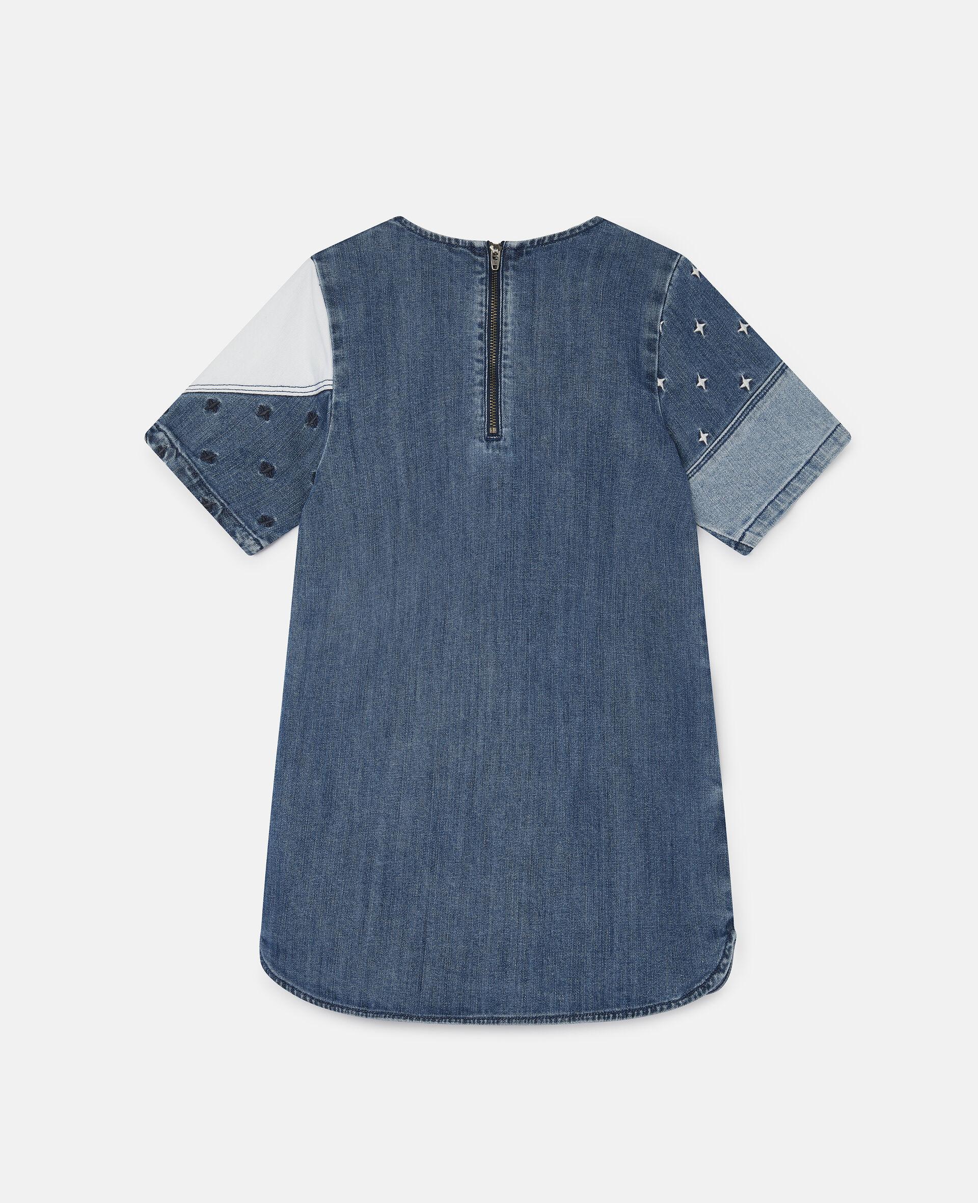 Embroidered Stars Patchwork Denim Dress-Blue-large image number 3