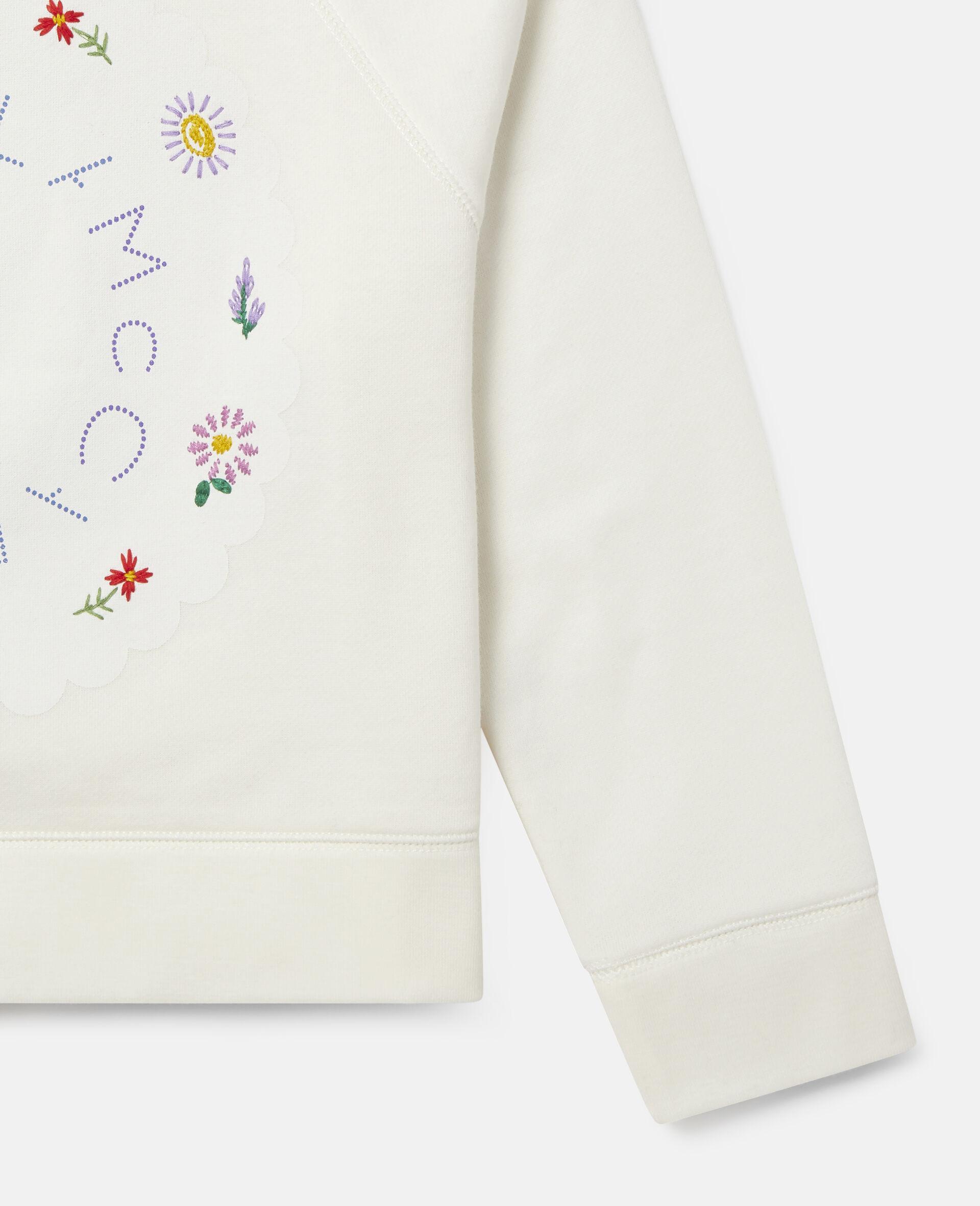 Oversized Logo Cotton Fleece Sweatshirt-White-large image number 2
