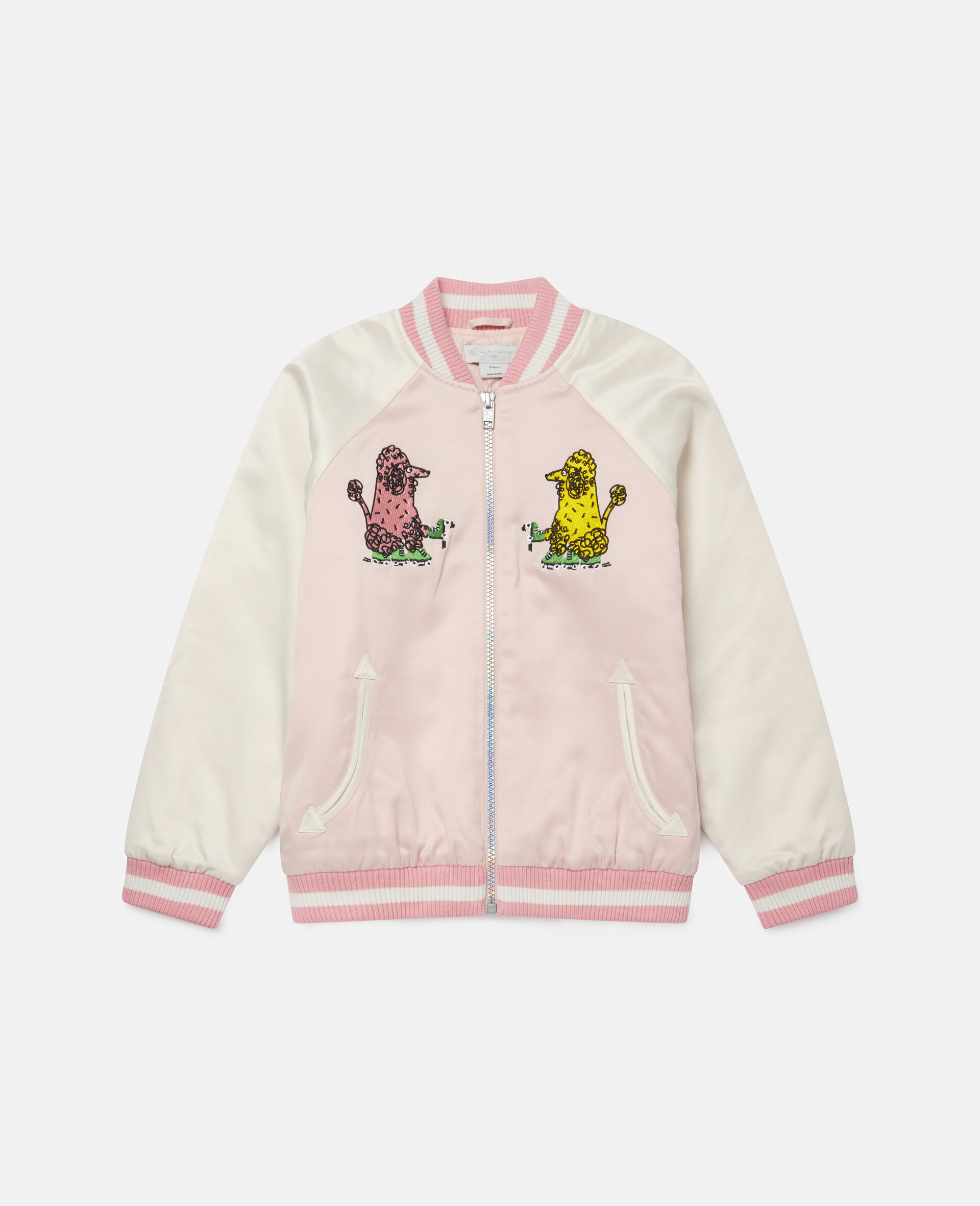 Embroidered Poodles Satin Jacket-Pink-large image number 0