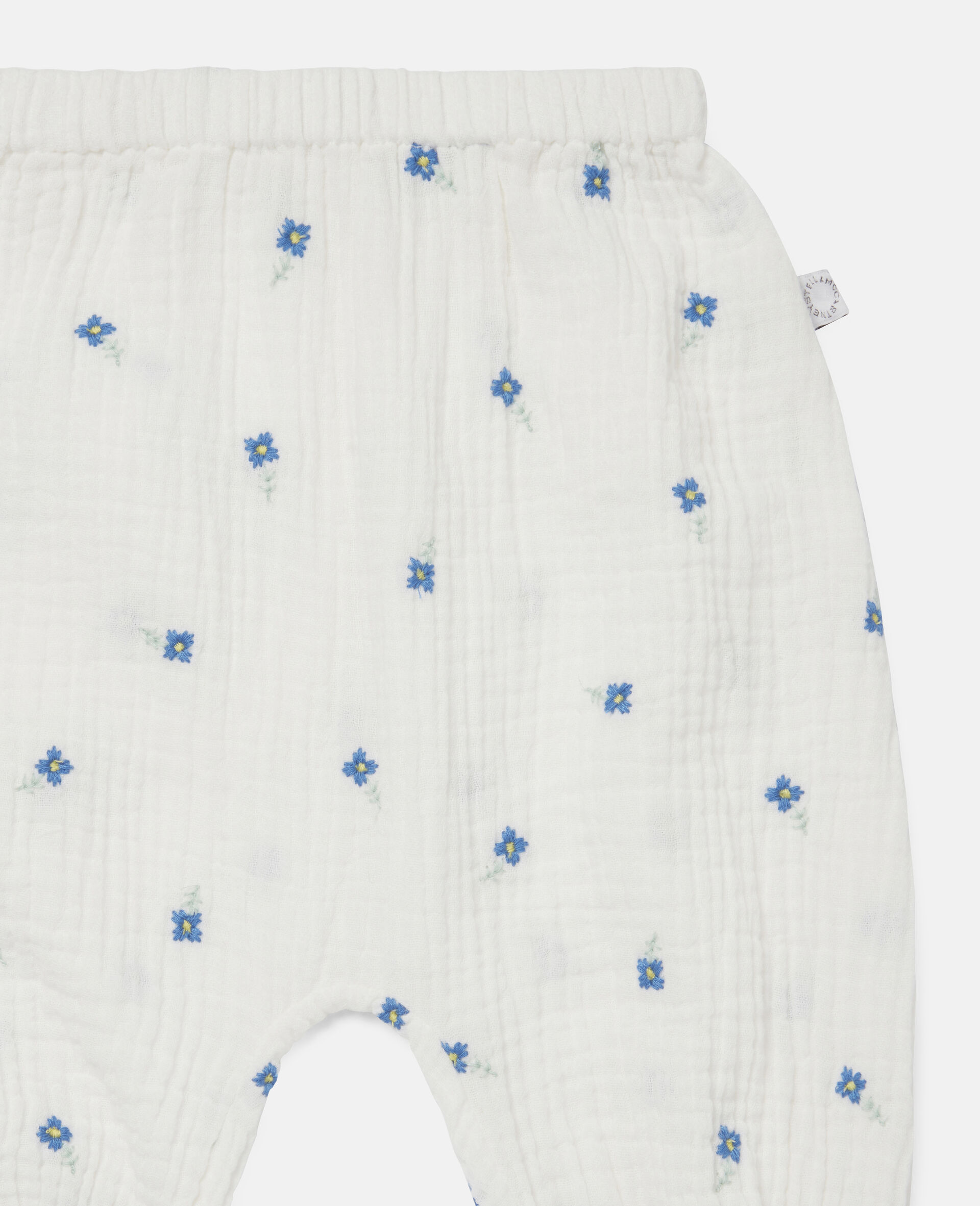 Embroidered Flowers Cotton Trousers-White-large image number 2