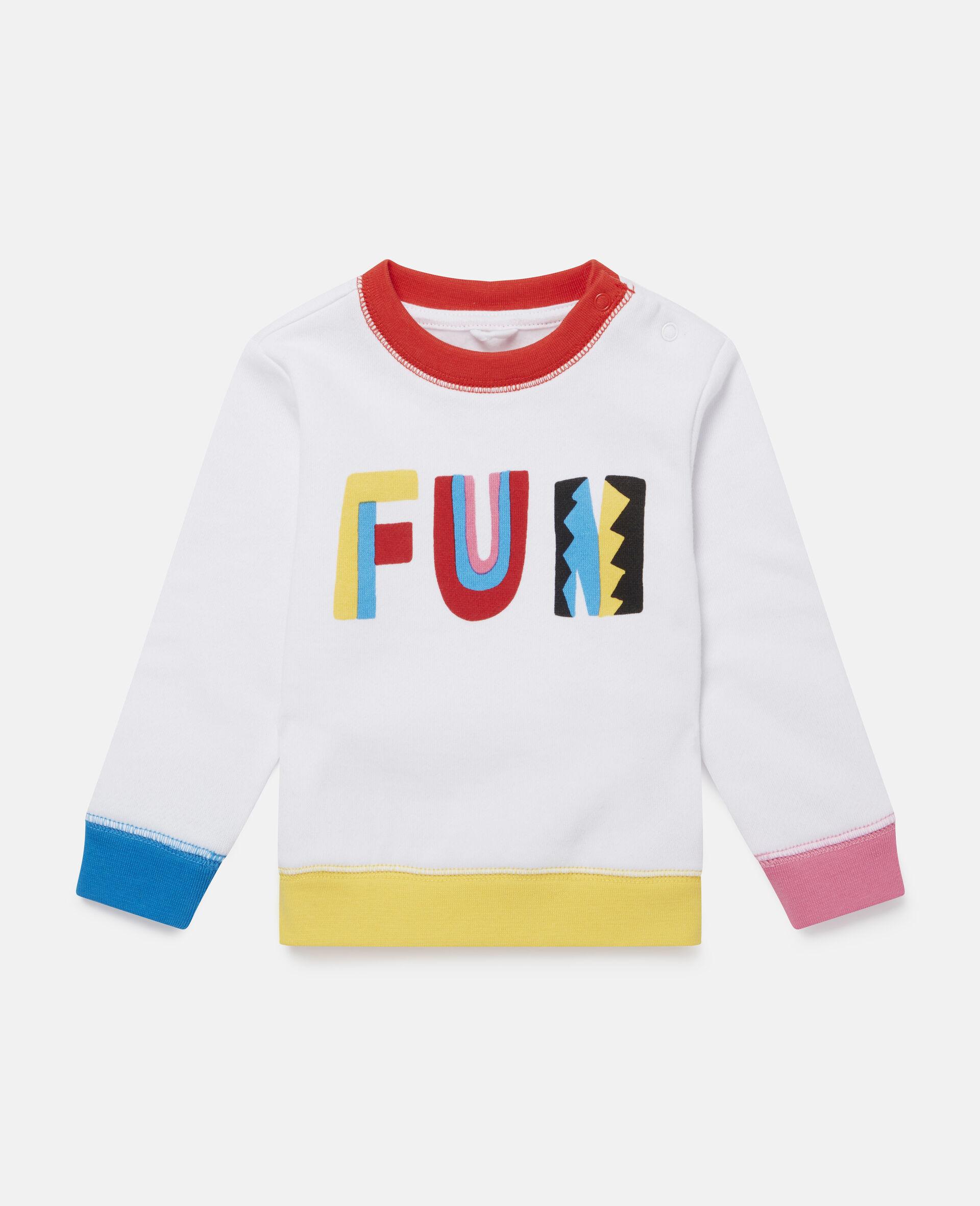 Fröhliches blockfarbenes Fleece-Swat-Shirt-Weiß-large image number 0