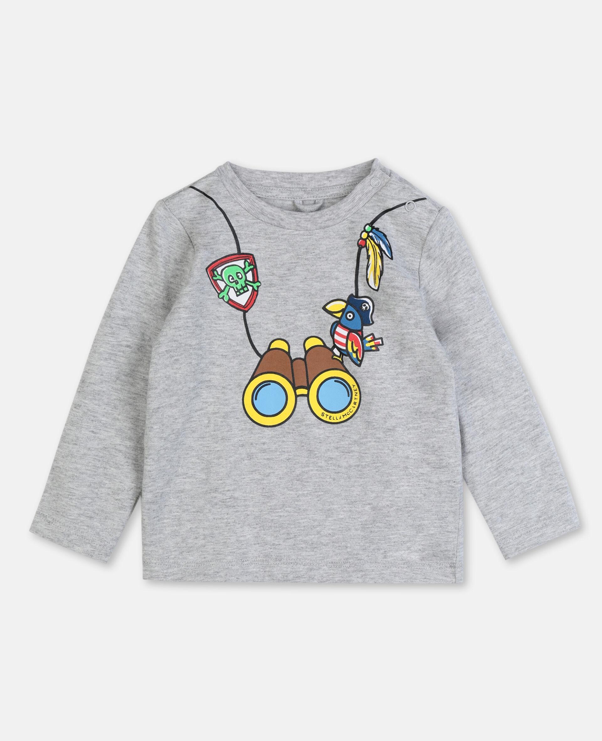 T-Shirt aus Baumwolle mit Fernglas-Print -Grau-large image number 0