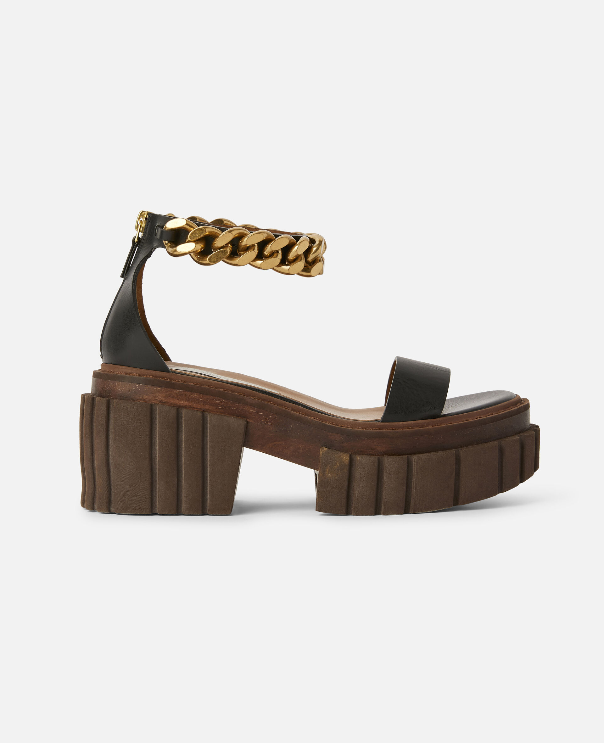 Emilie Chunky Chain Sandals-Black-large image number 0