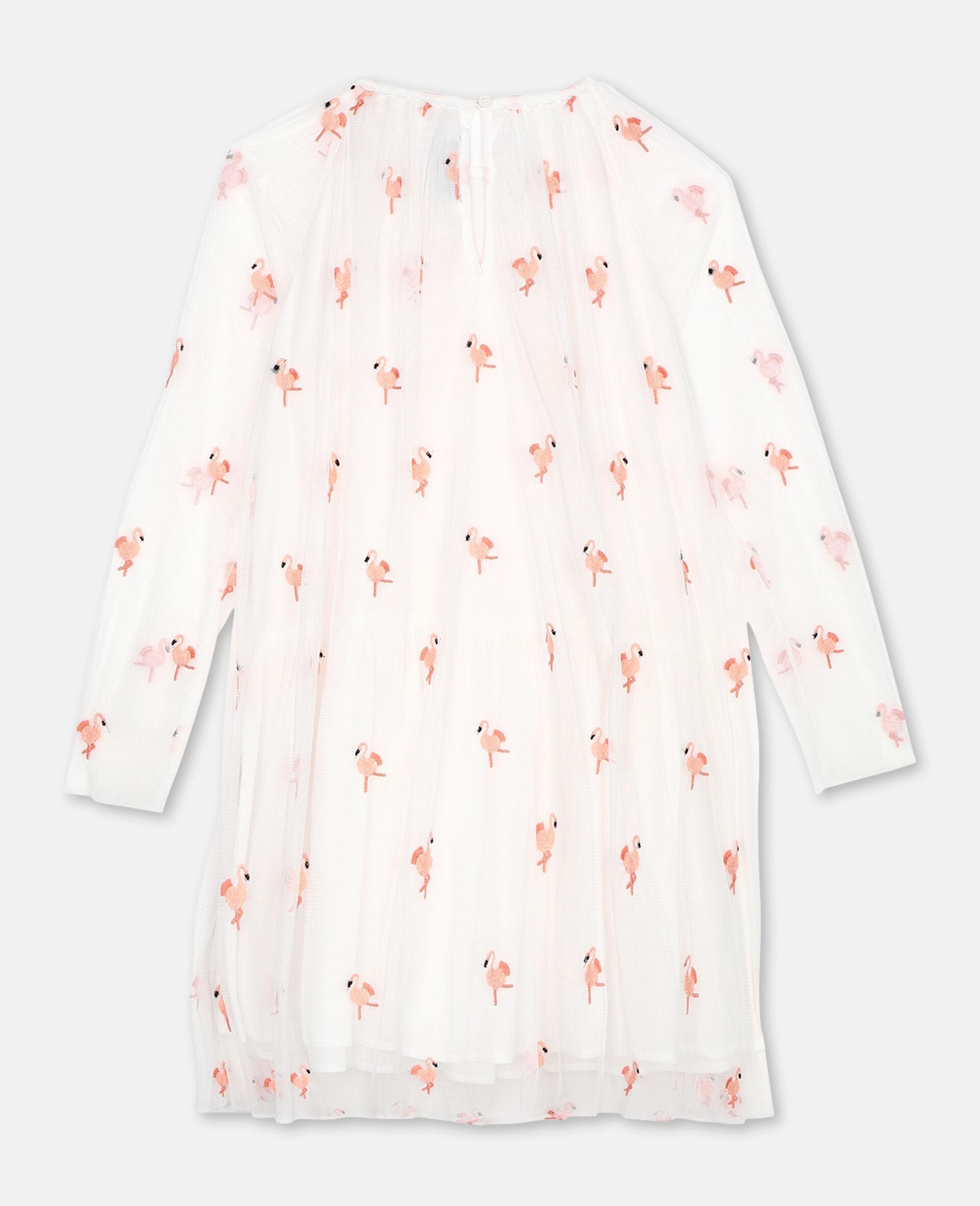Flamingo刺绣天绢网衣裙-白色-large image number 3