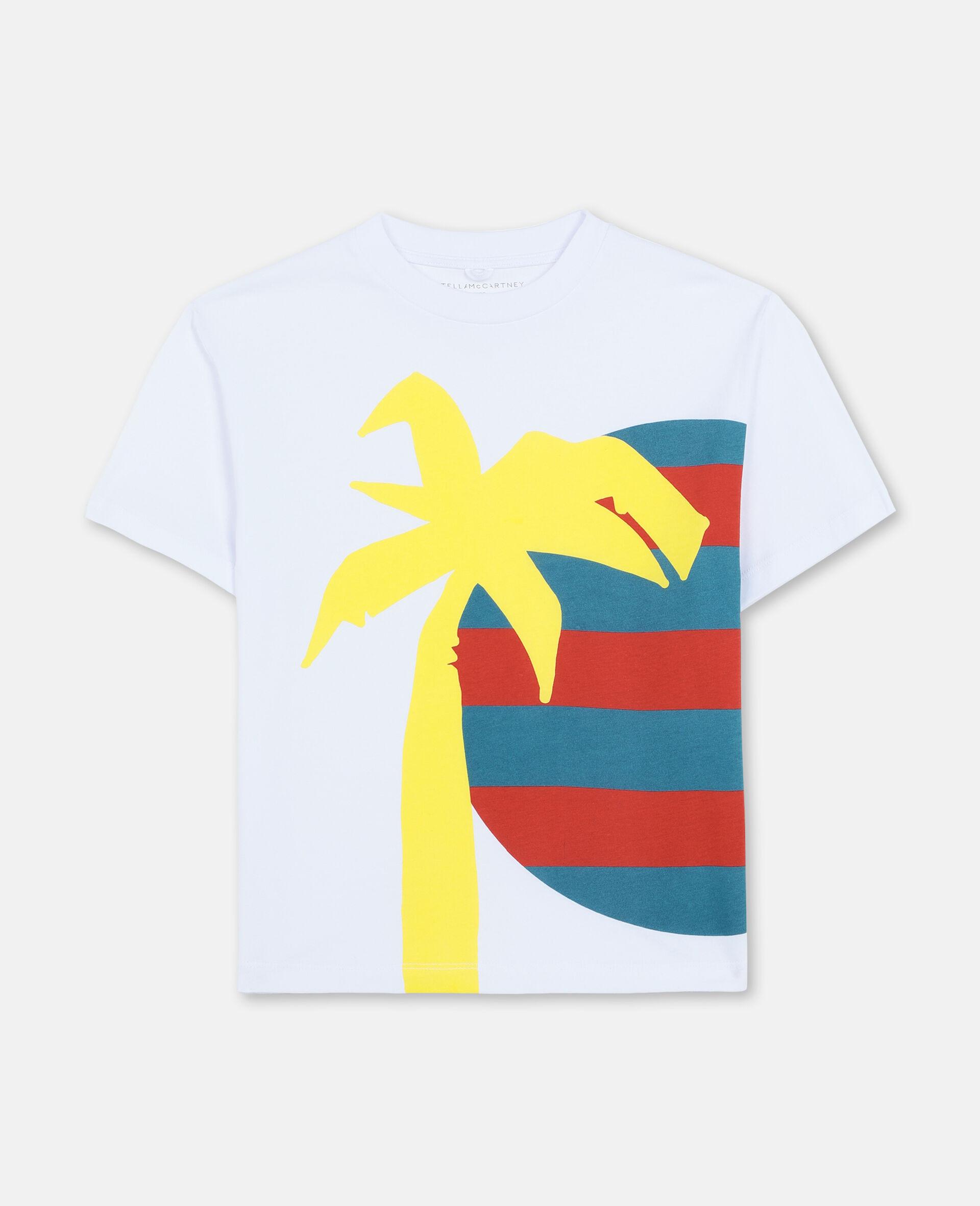 T-shirt oversize en coton à motif soleil et palmier -Blanc-large image number 0