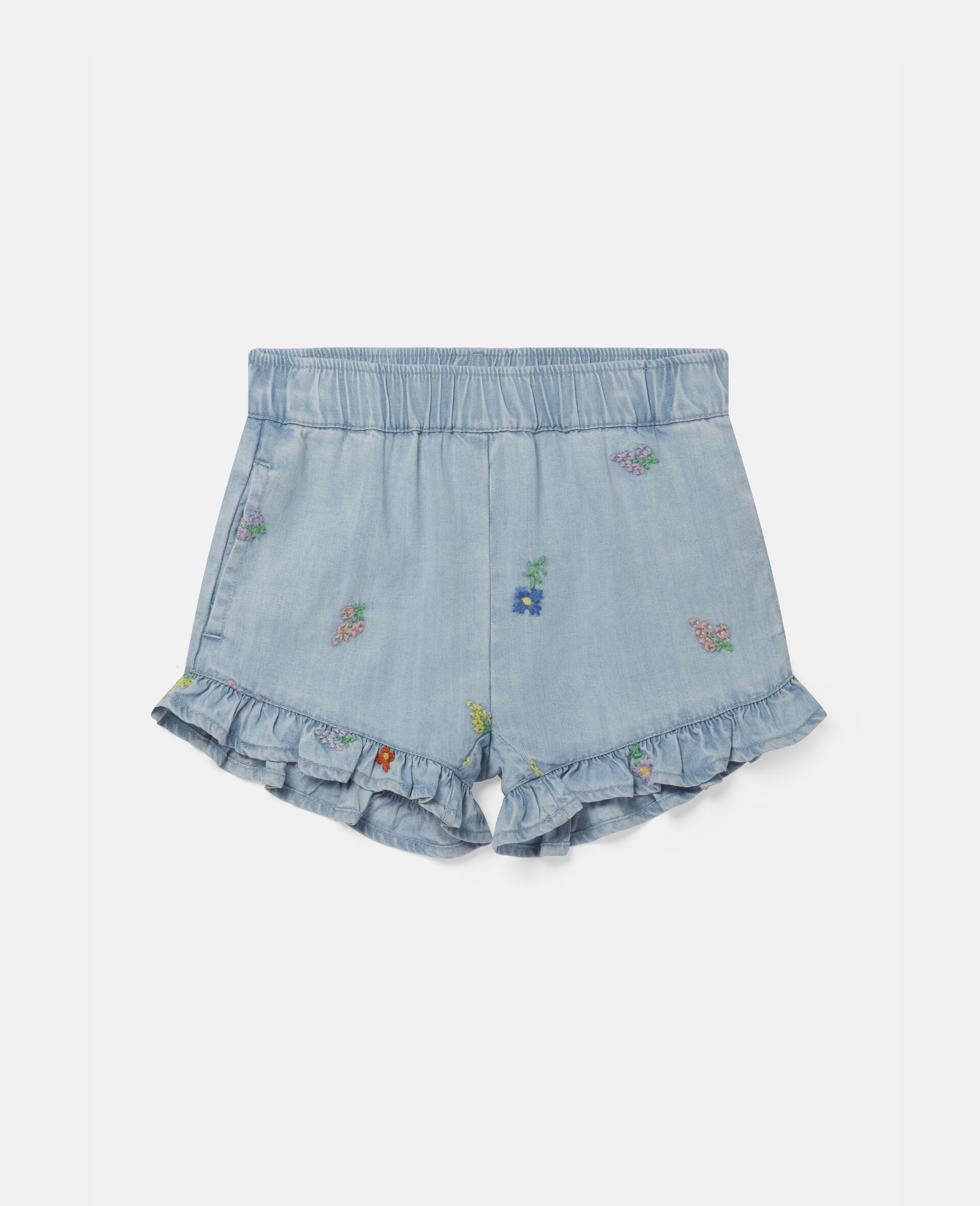 Shorts in Denim con Fiori Ricamati-Blu-large image number 0