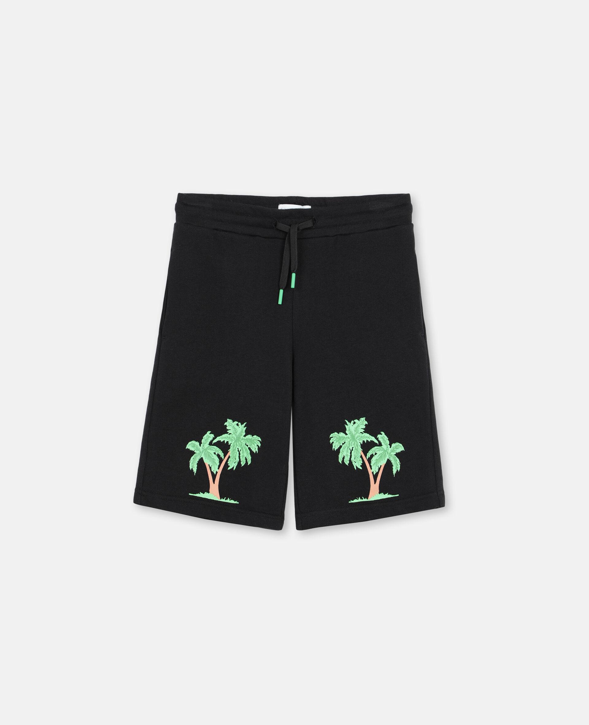 Short en coton à motif palmiers -Noir-large image number 0