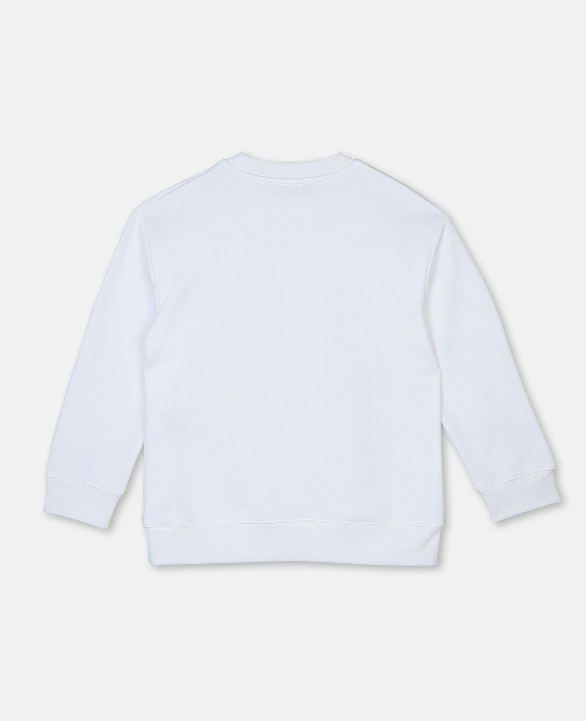 Felpa Oversize in Cotone con Logo Basket -Bianco-large image number 3