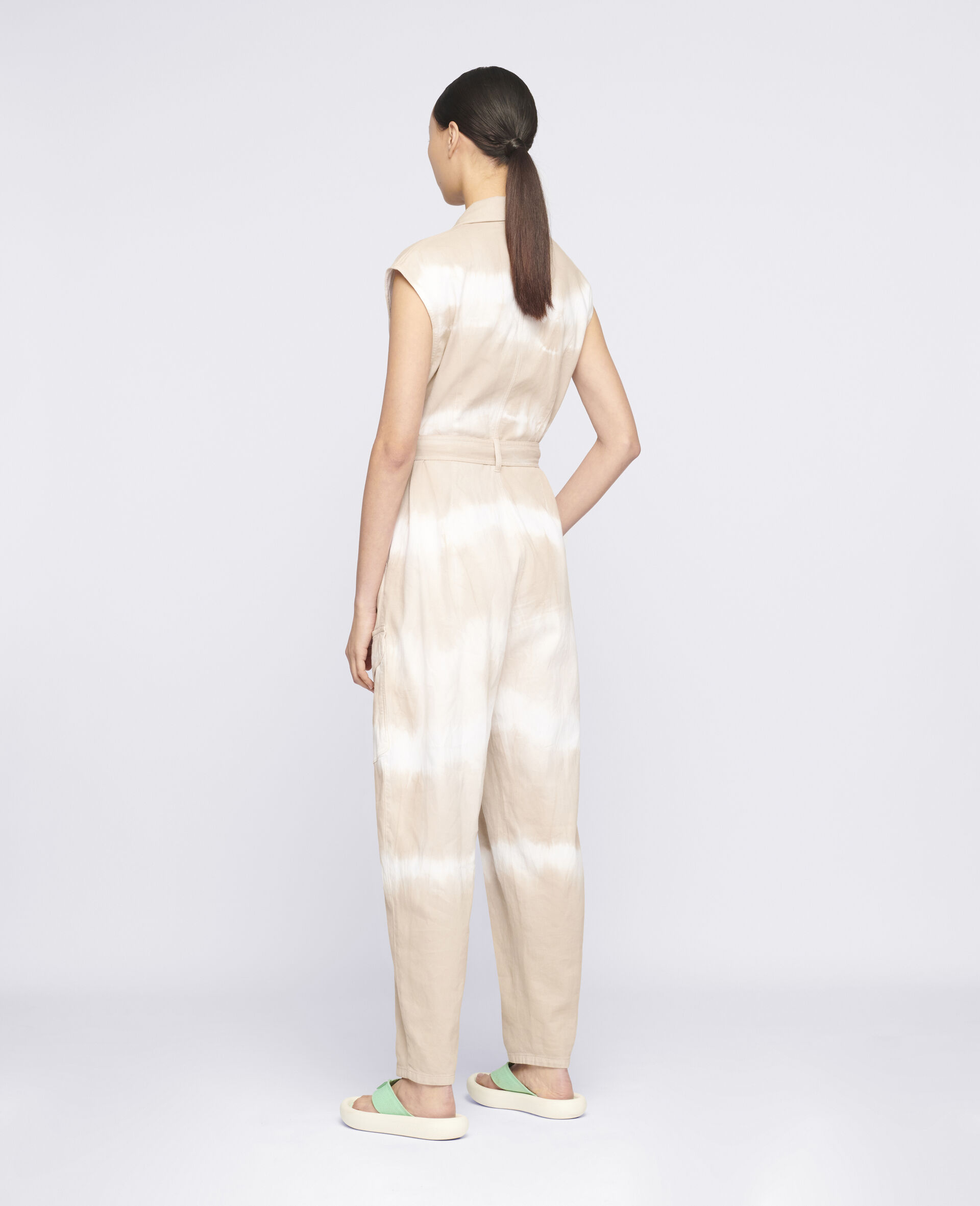 Tie-Dye Denim Jumpsuit-Beige-large image number 2