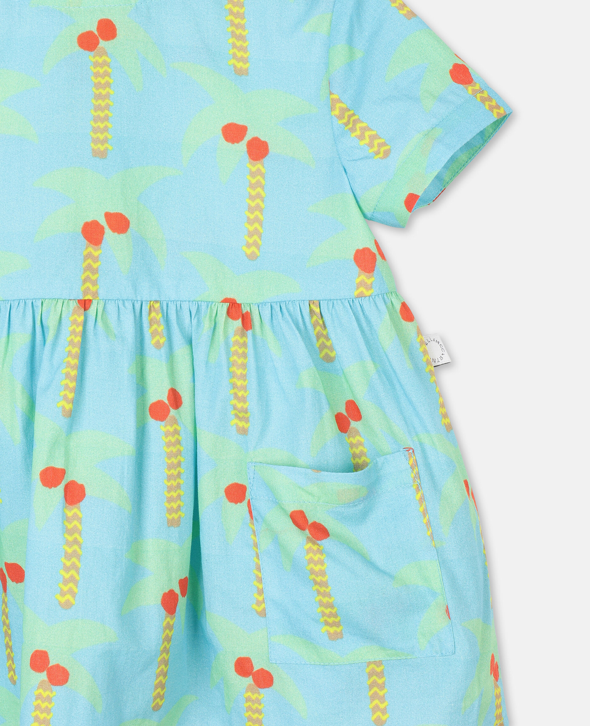 Palm Trees Cotton Dress-Green-large image number 1
