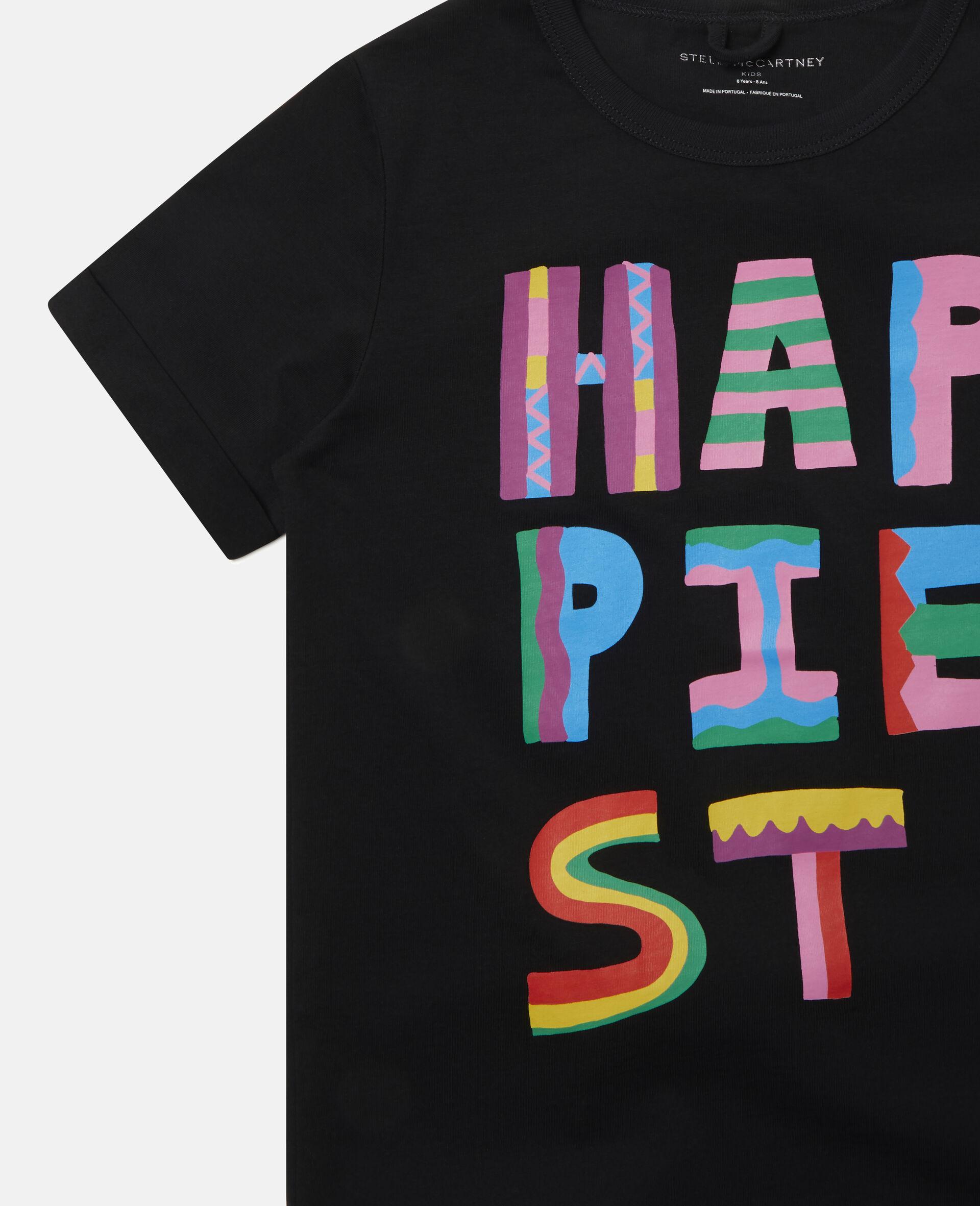 T-Shirt aus Baumwolle mit Happiest-Print-Schwarz-large image number 2