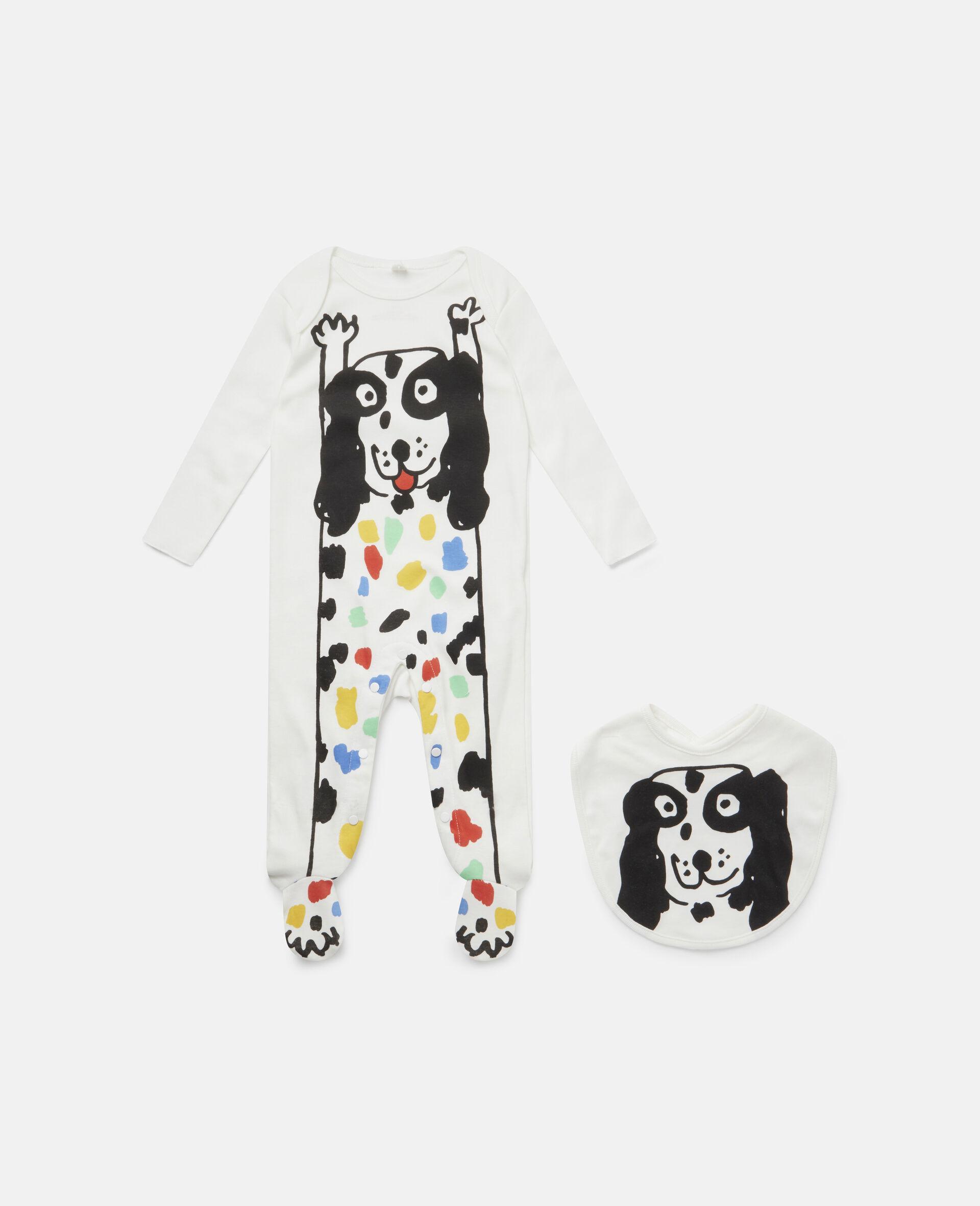 Dalmatian Jersey Rib Babygrow & Bib Set-White-large image number 0