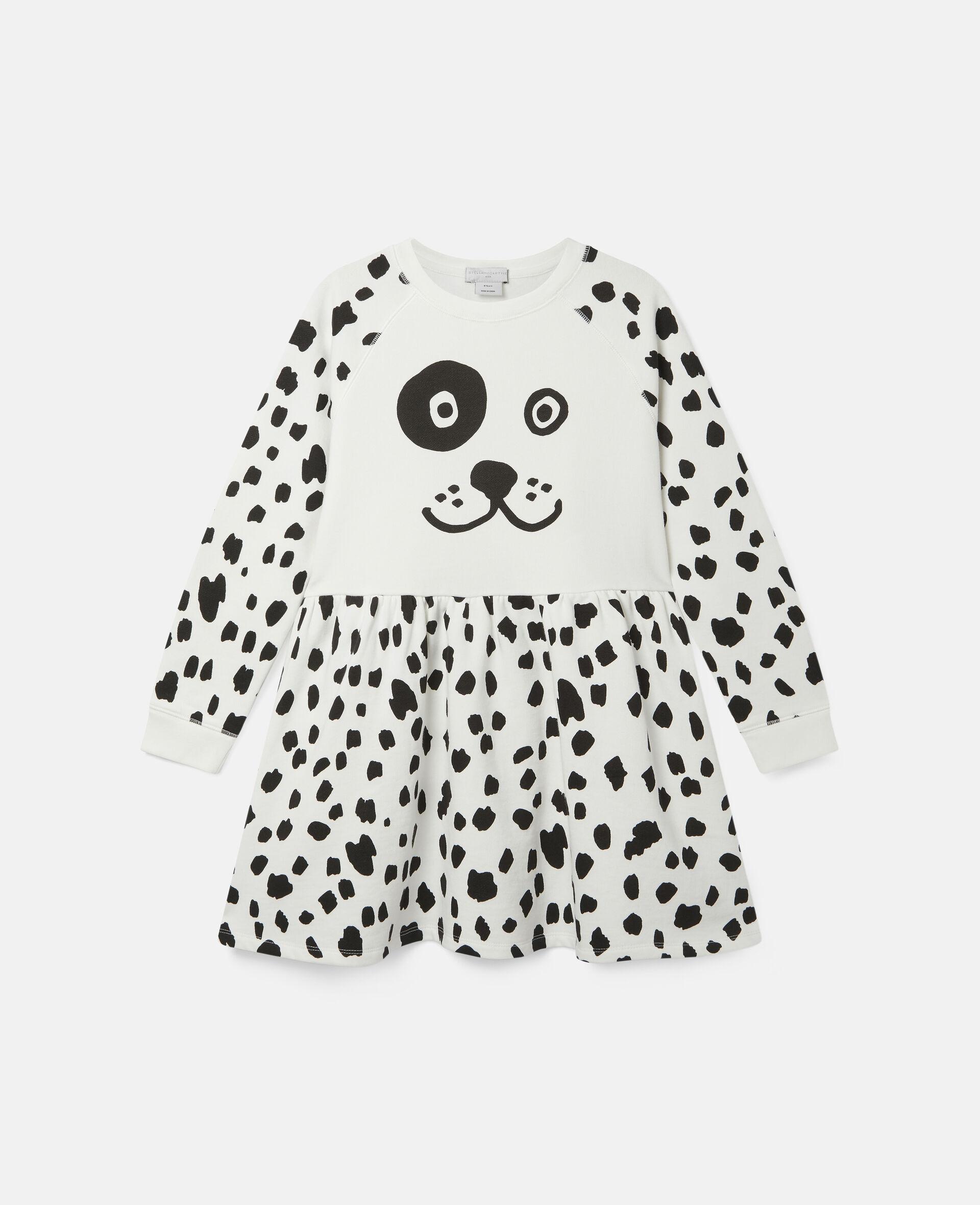 Dalmatian Spots Fleece Dress-White-large image number 0