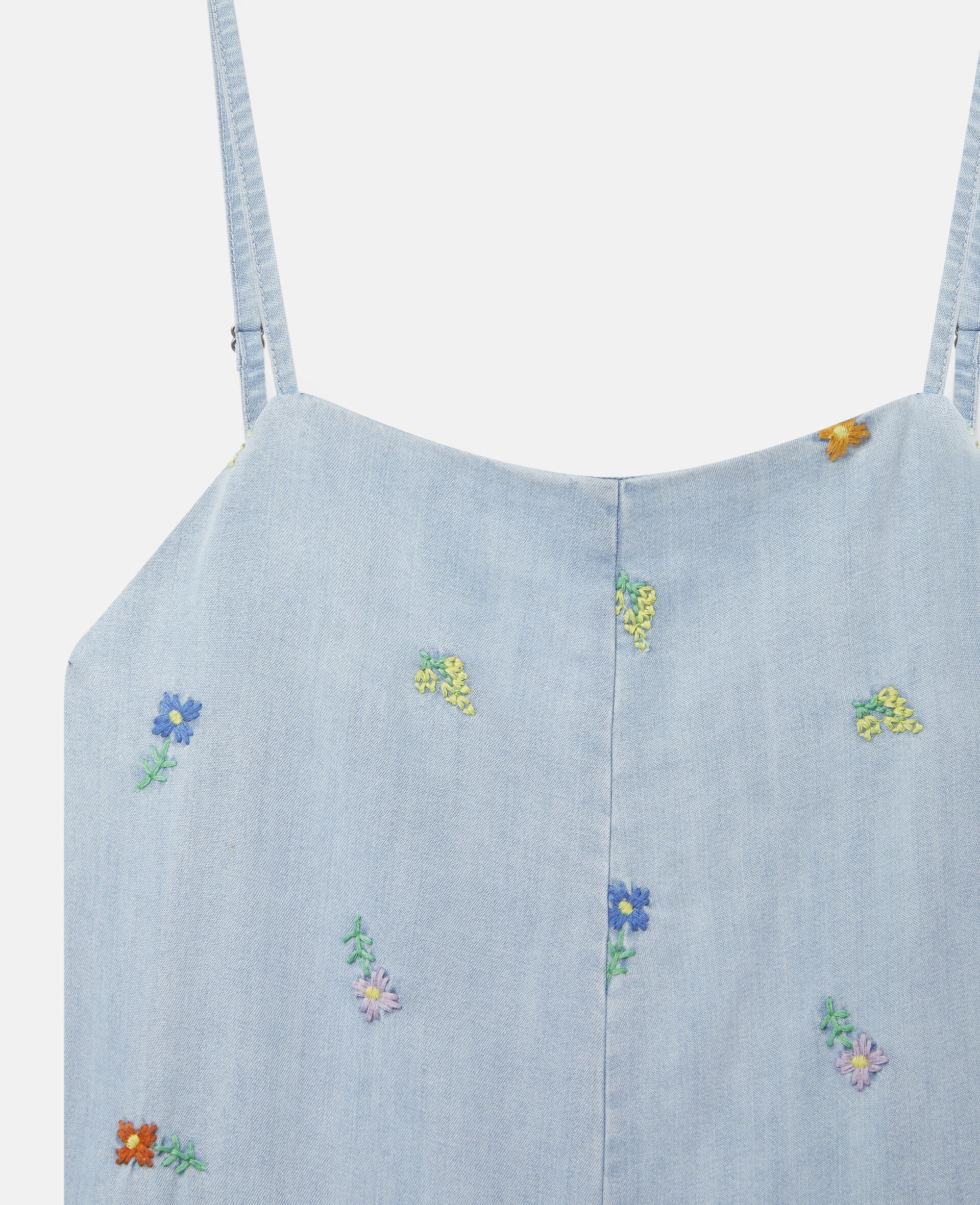 Embroidered Flowers Denim All-In-One-Blue-large image number 1