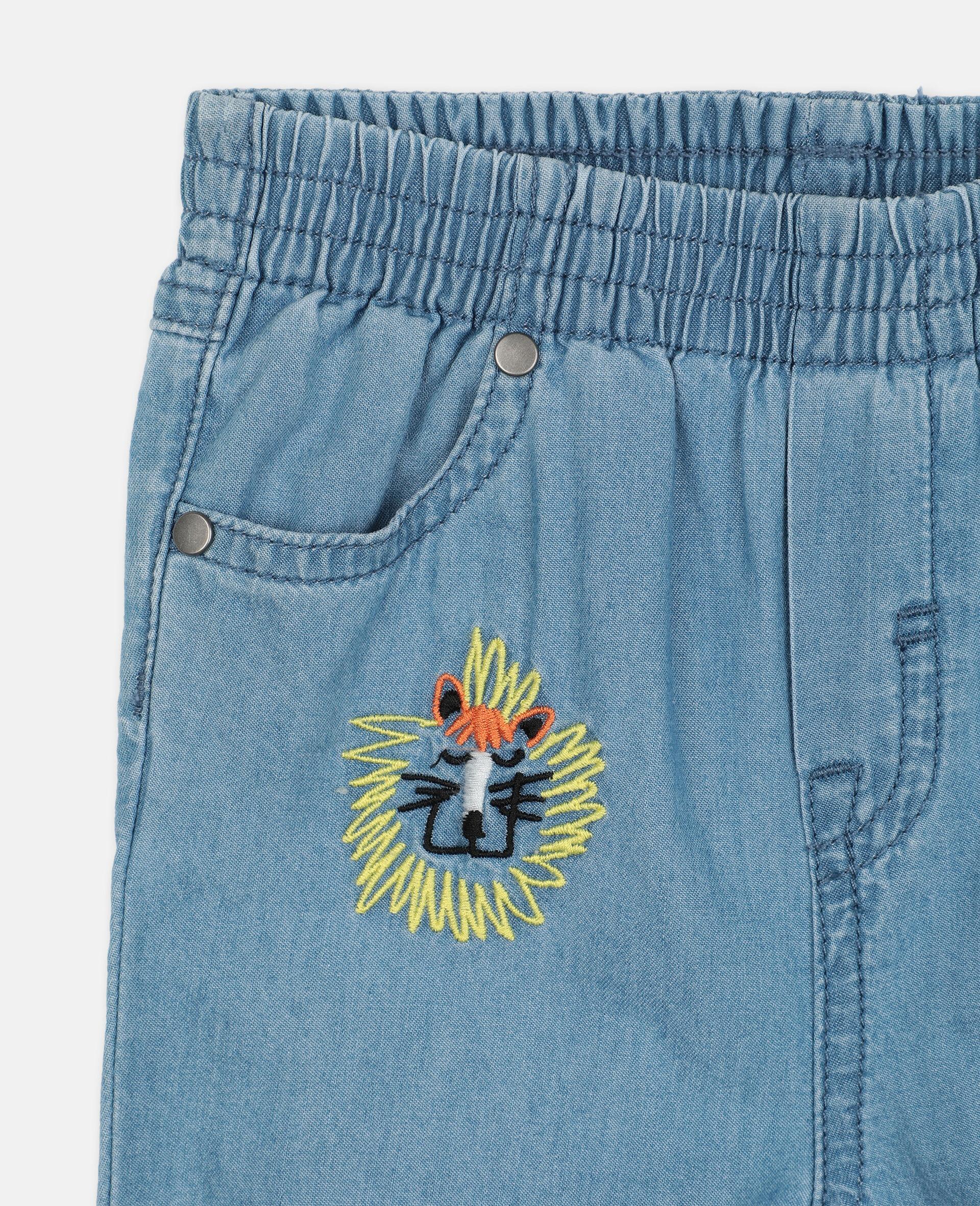 Pantaloni in Chambray con Gatti Ricamati-Blu-large image number 1