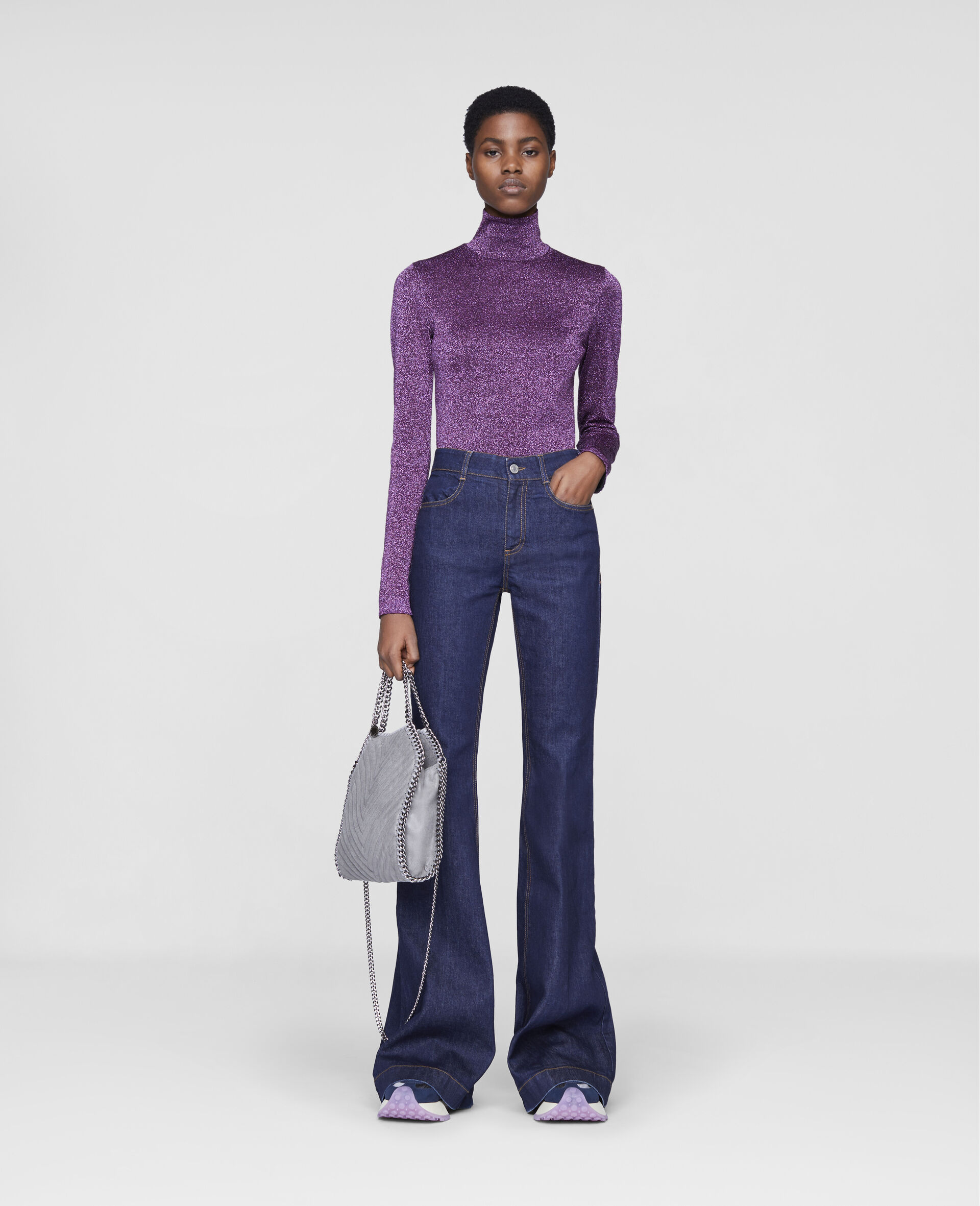 The 70s Flared Denim Trousers-Blue-large image number 1