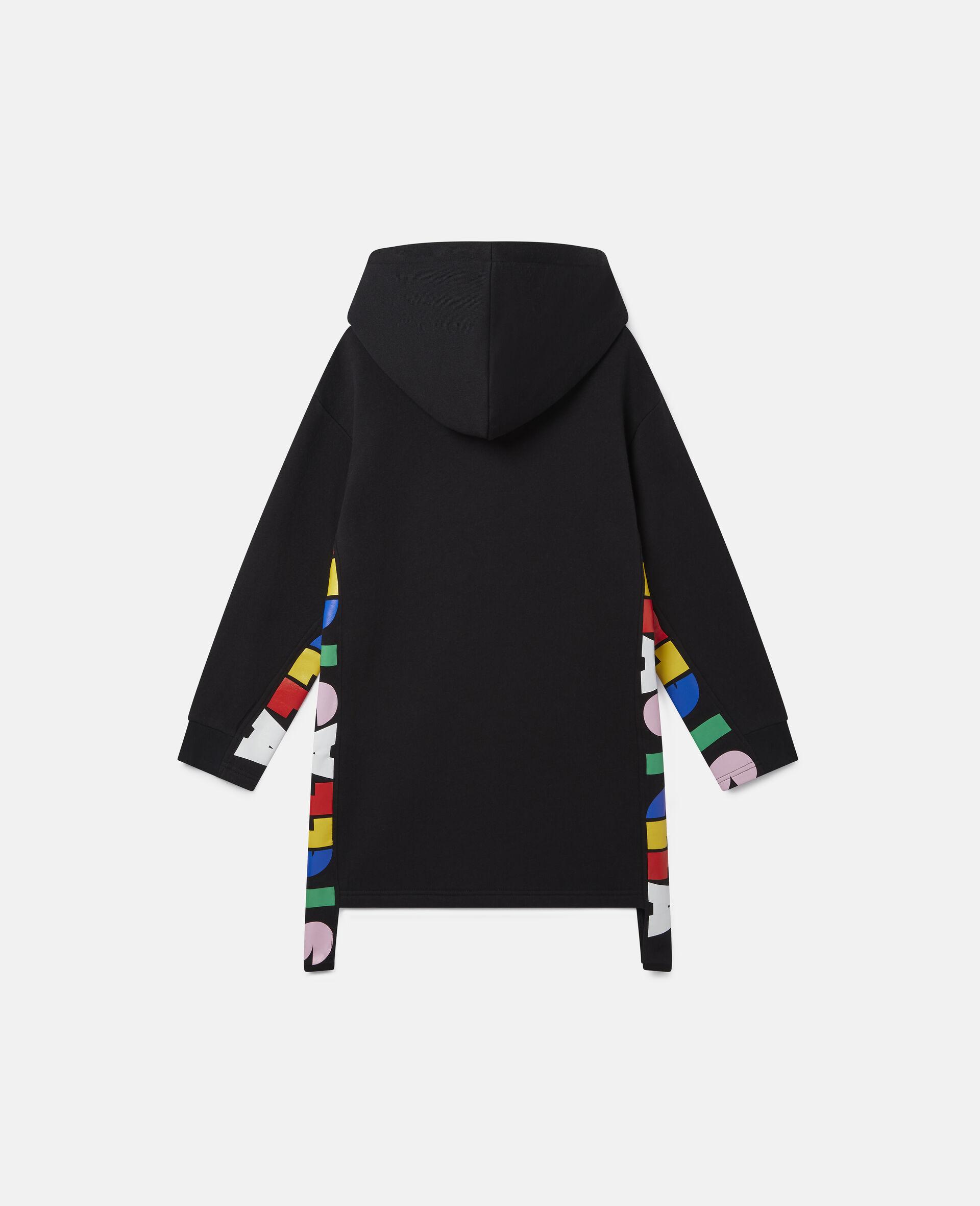 Oversize Hooded Fleece Dress-Black-large image number 3