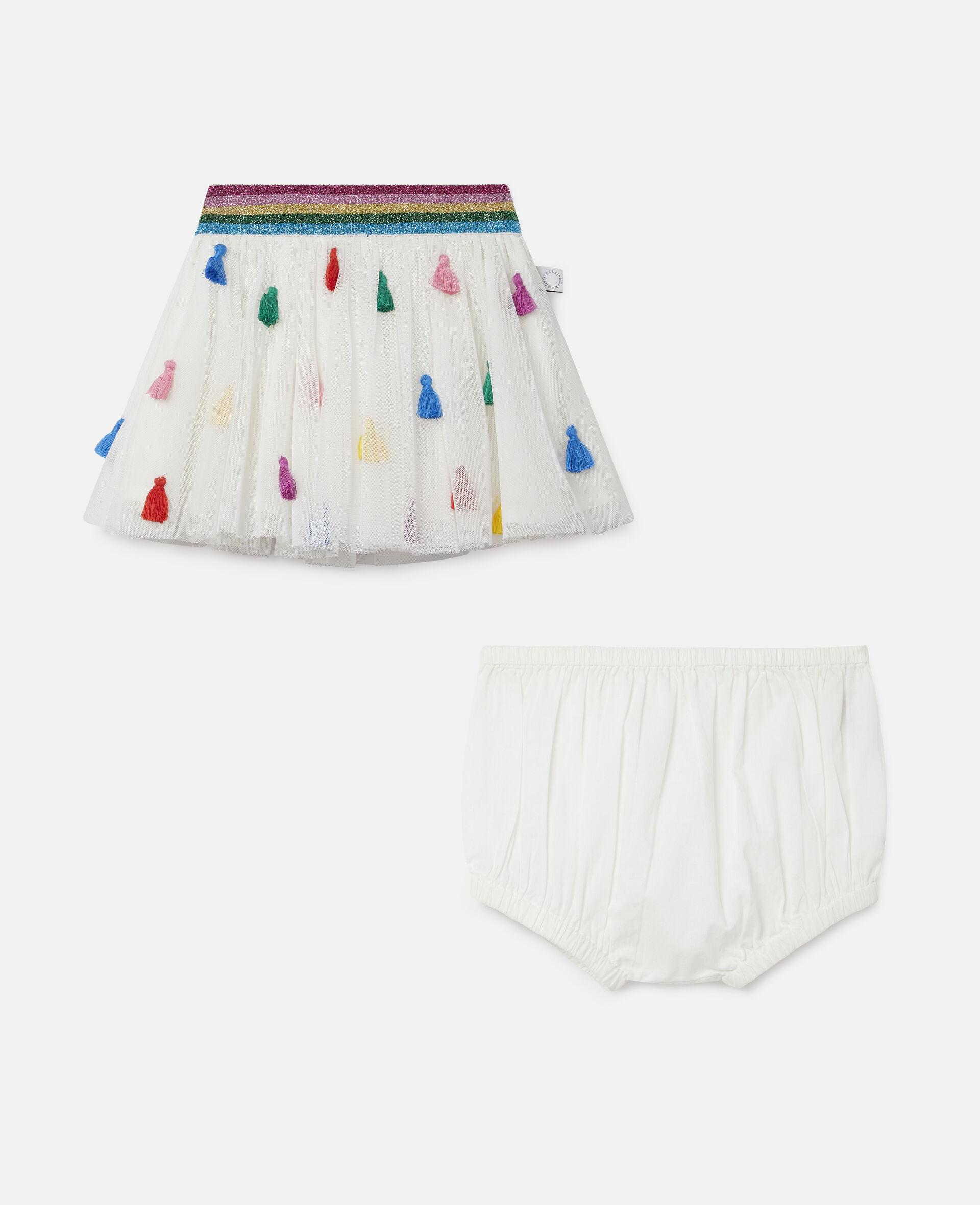 Tassels Tulle Skirt-White-large image number 3